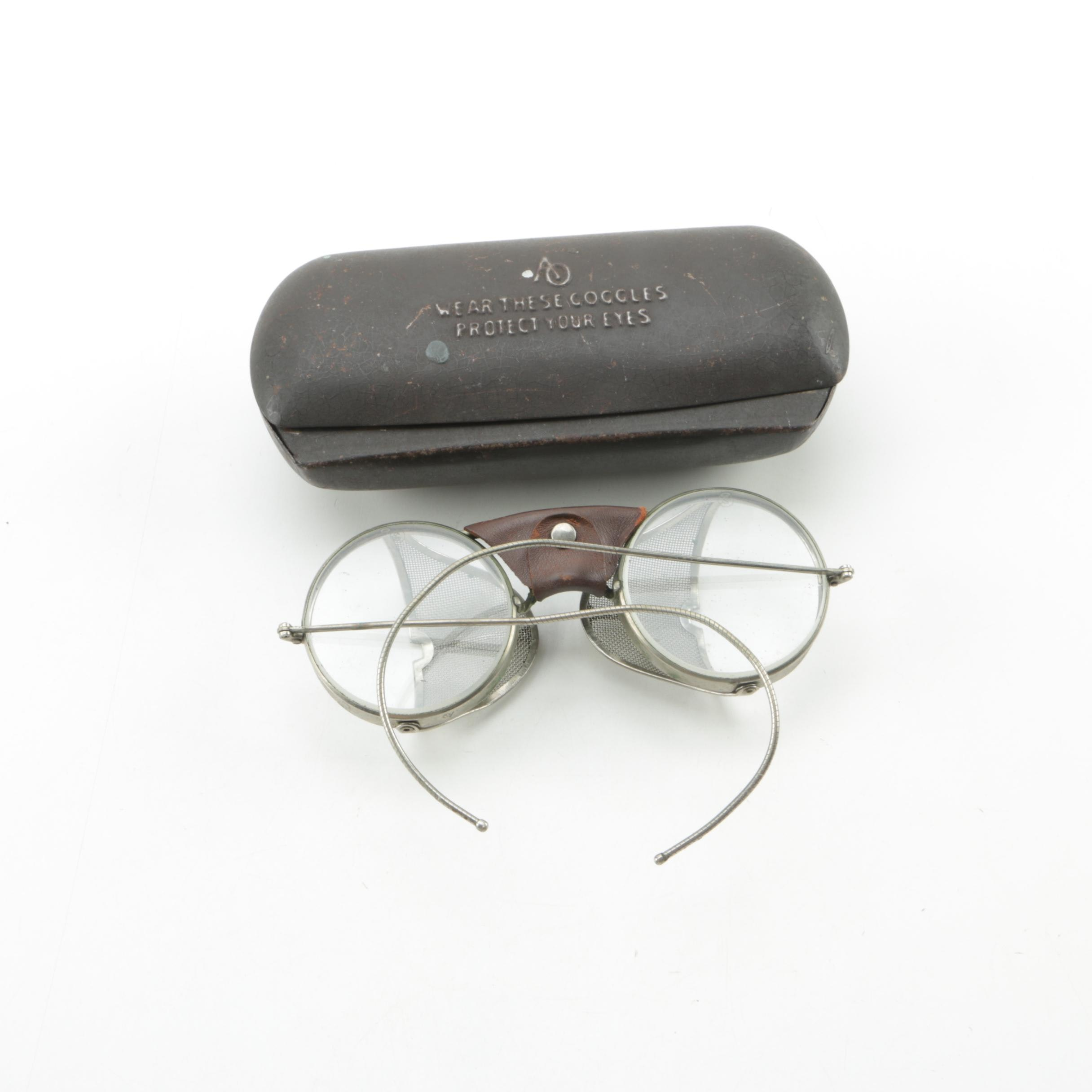 Semi-Antique Safety Goggles with Metal Case