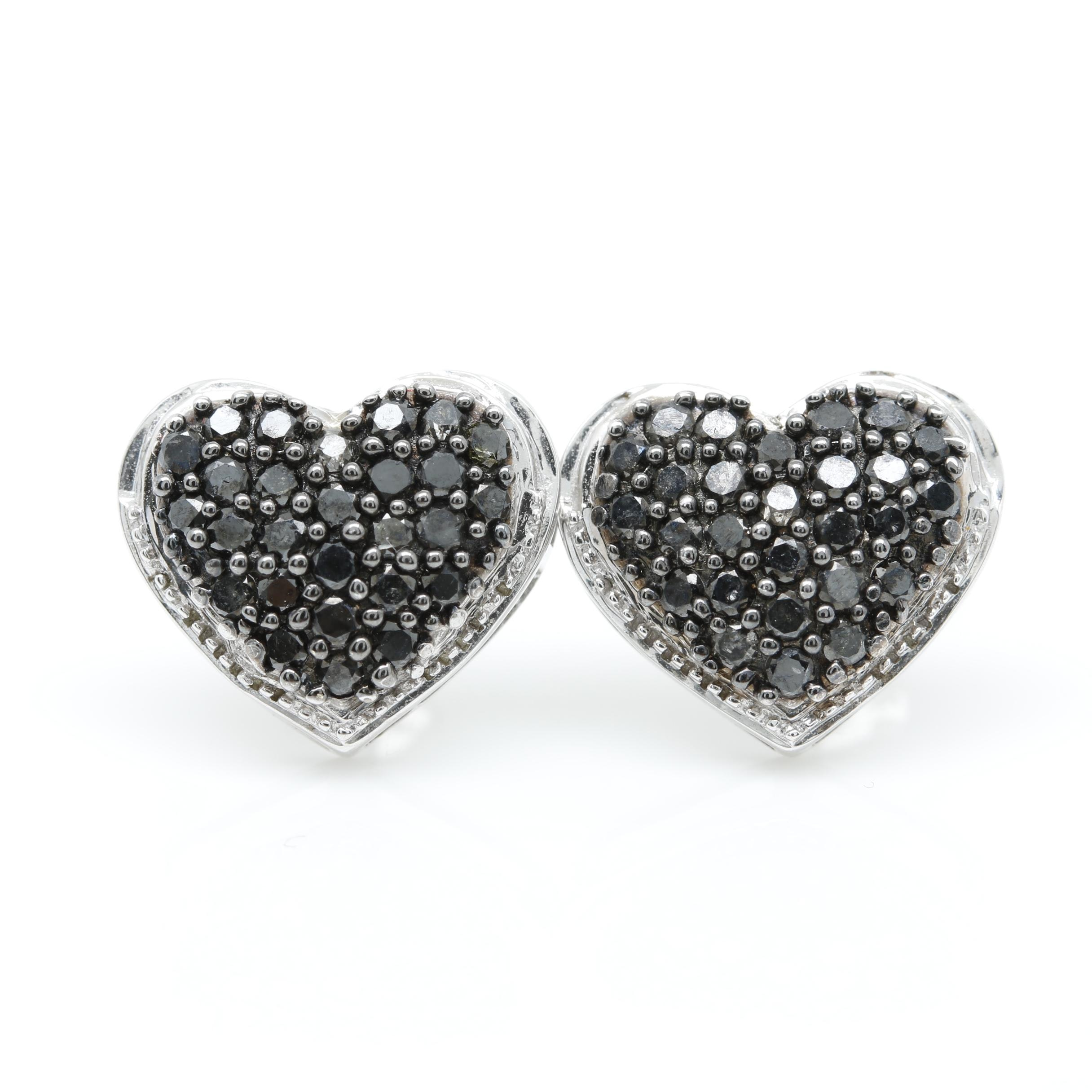 14K White Gold Black Diamond Heart Earrings