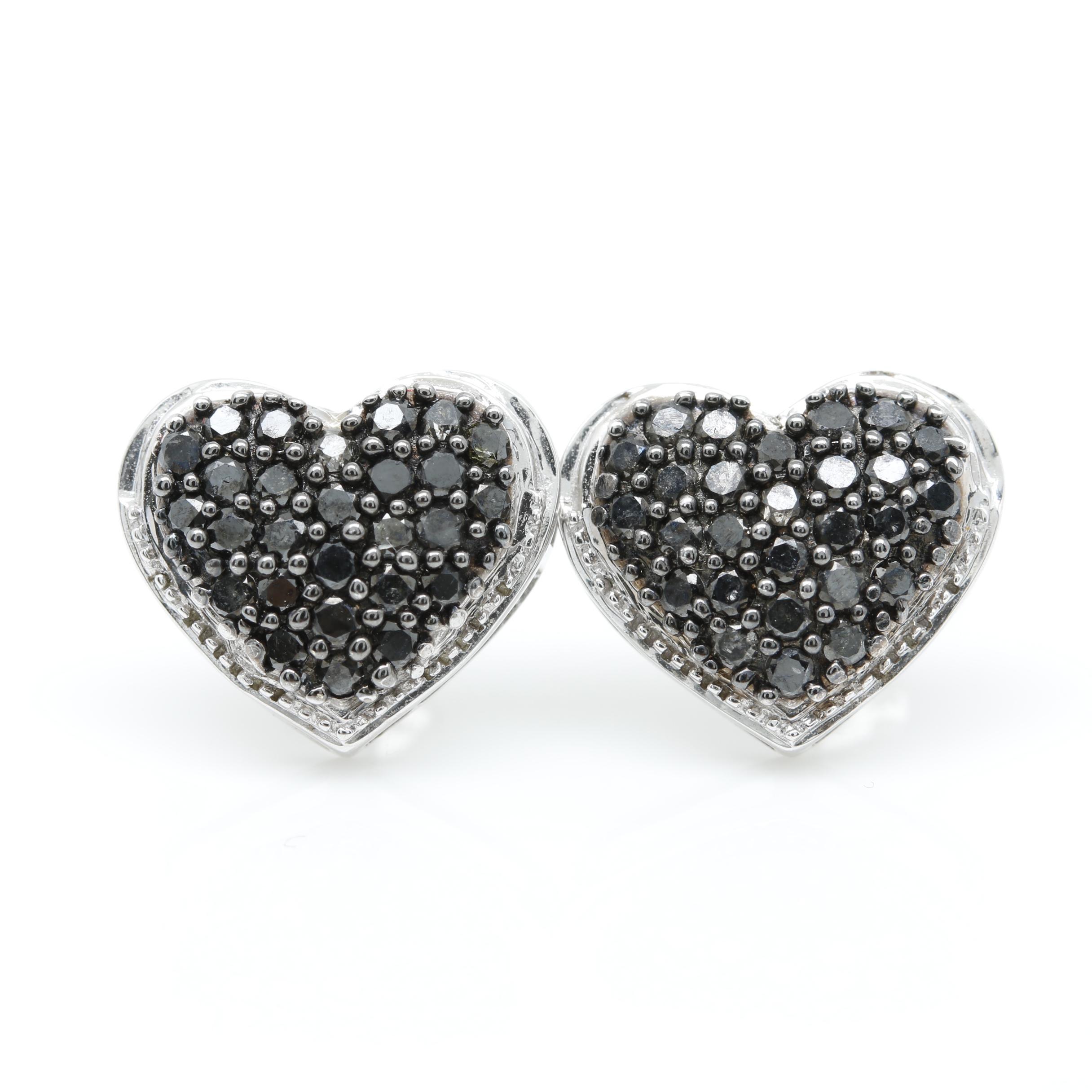 14K White Gold Black Diamond Heart Earrings