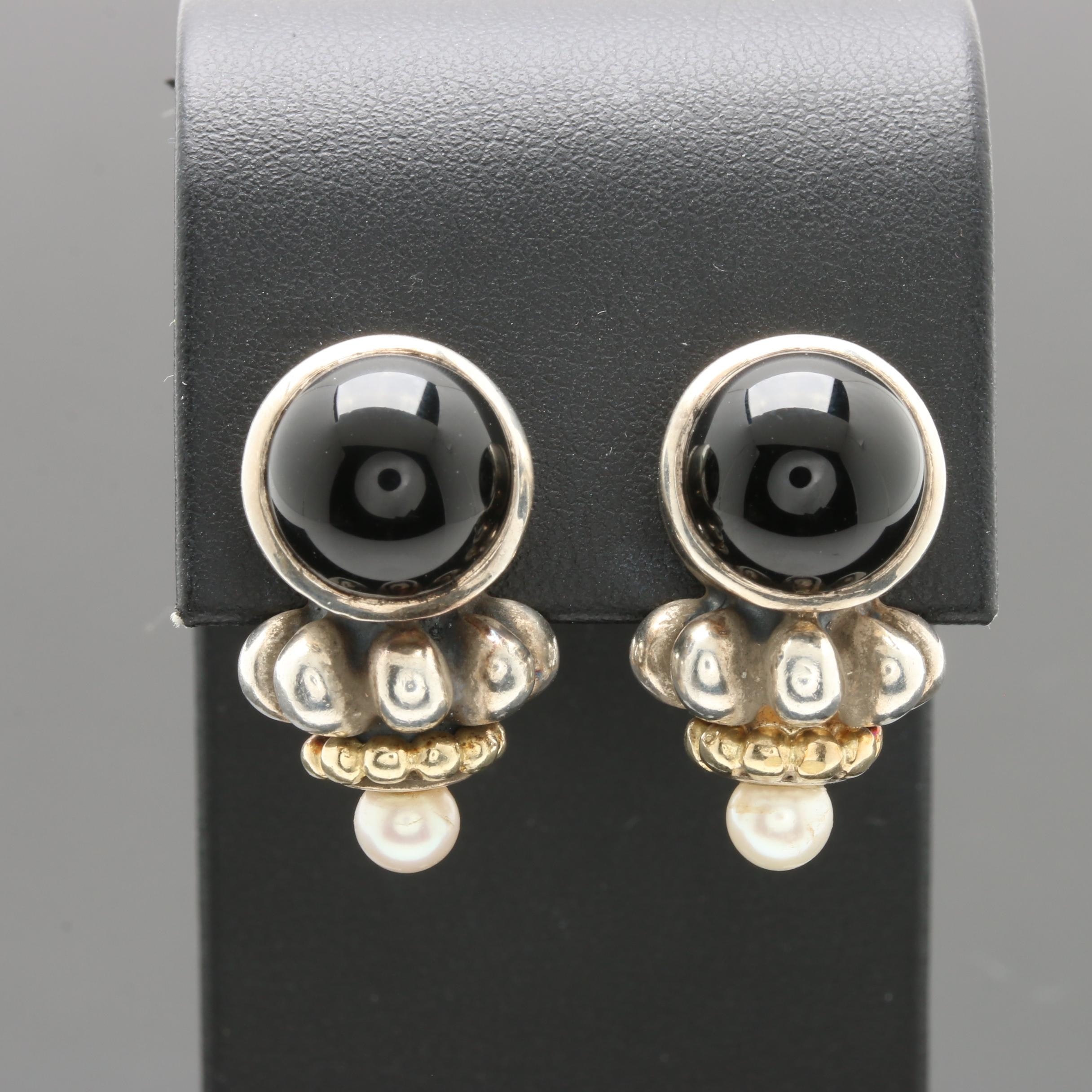 Lagos Sterling Silver Onyx and Pearl Earrings with 14K Posts and 18K Accents