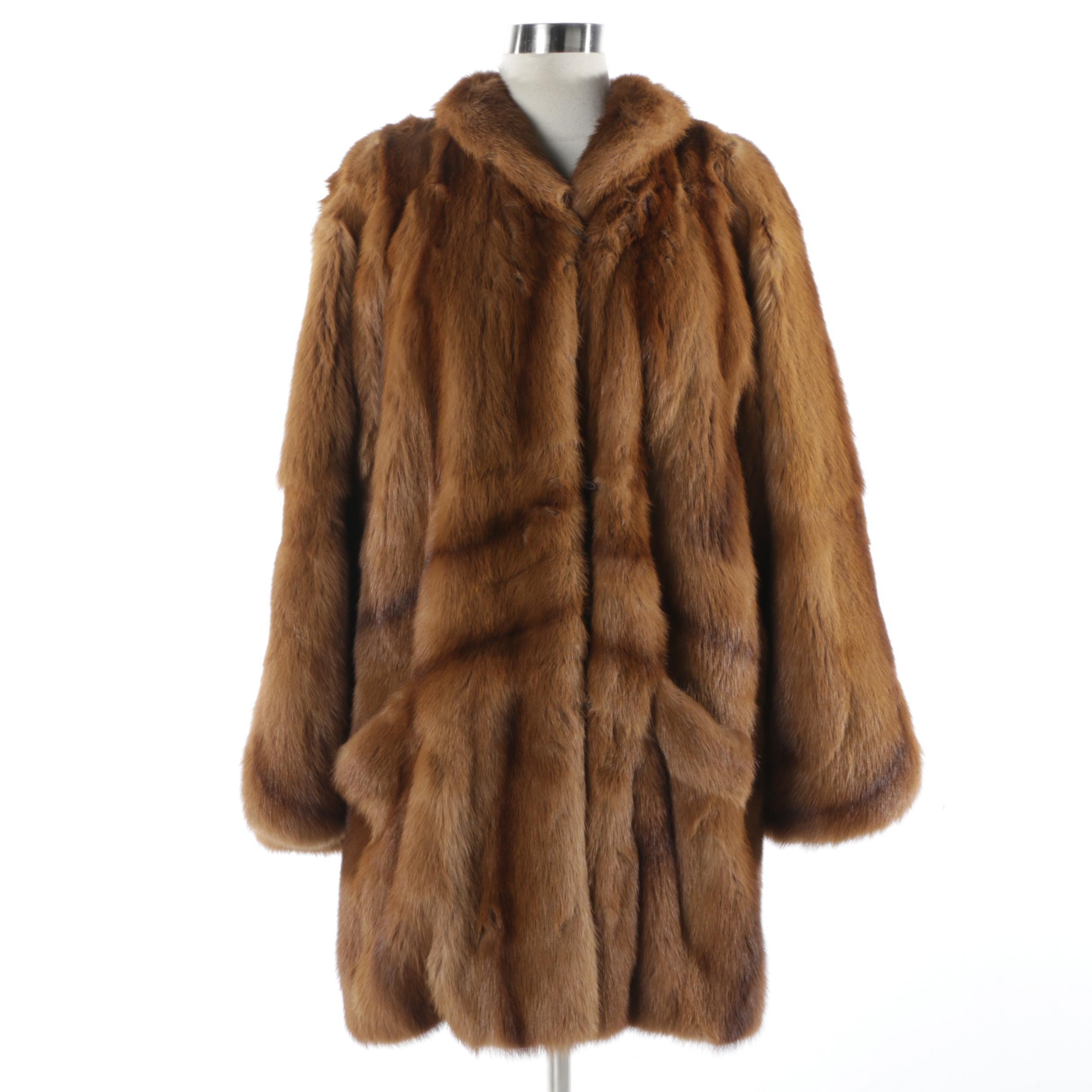 Women's Dyed Muskrat Fur Coat