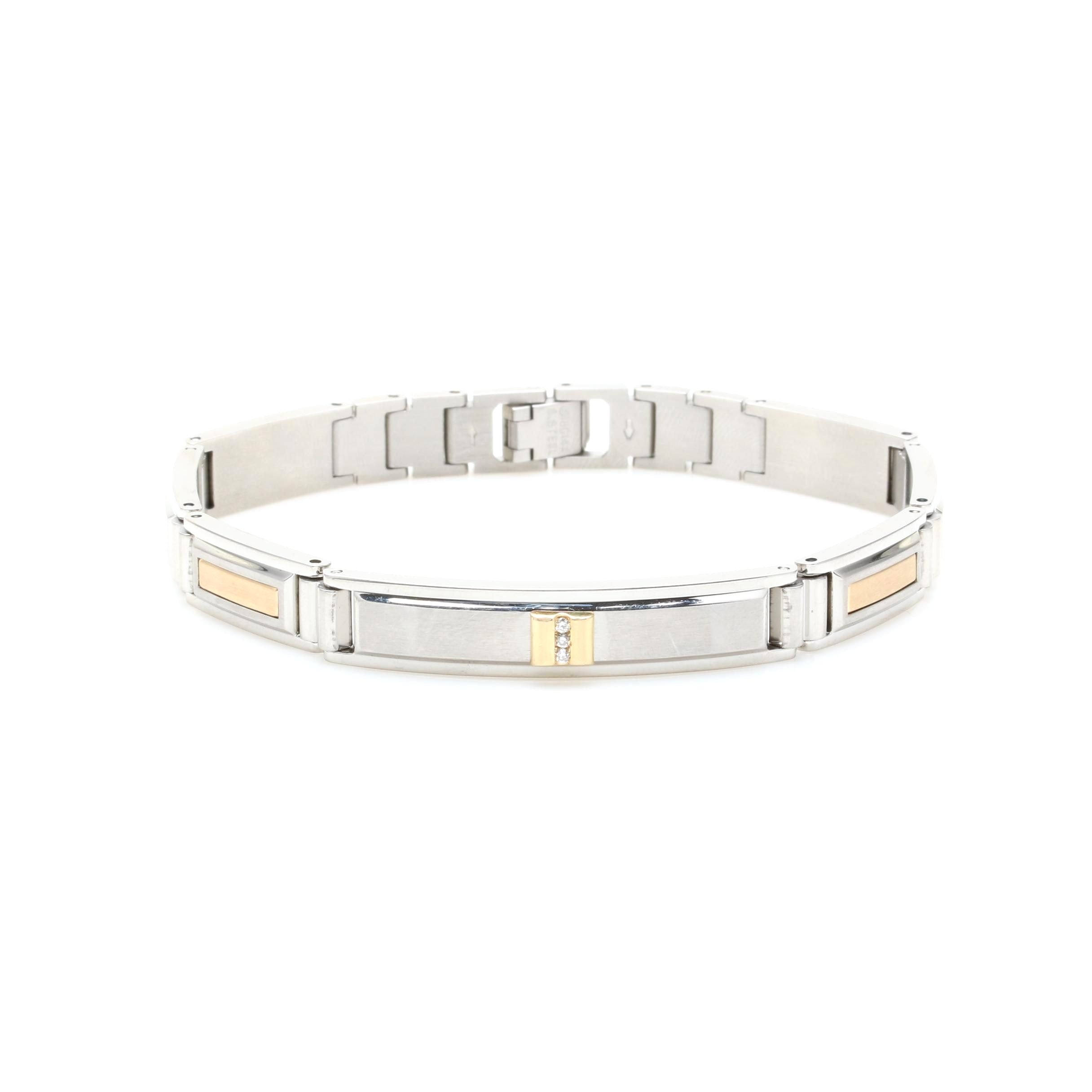 14K Yellow Gold and Stainless Steel Diamond Bracelet