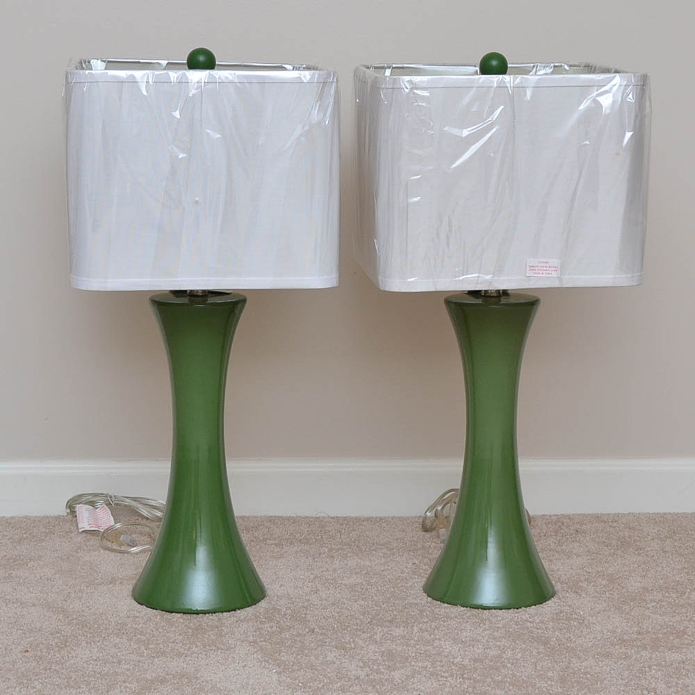 Pair of Green Table Lamps by Angelo Surmelis