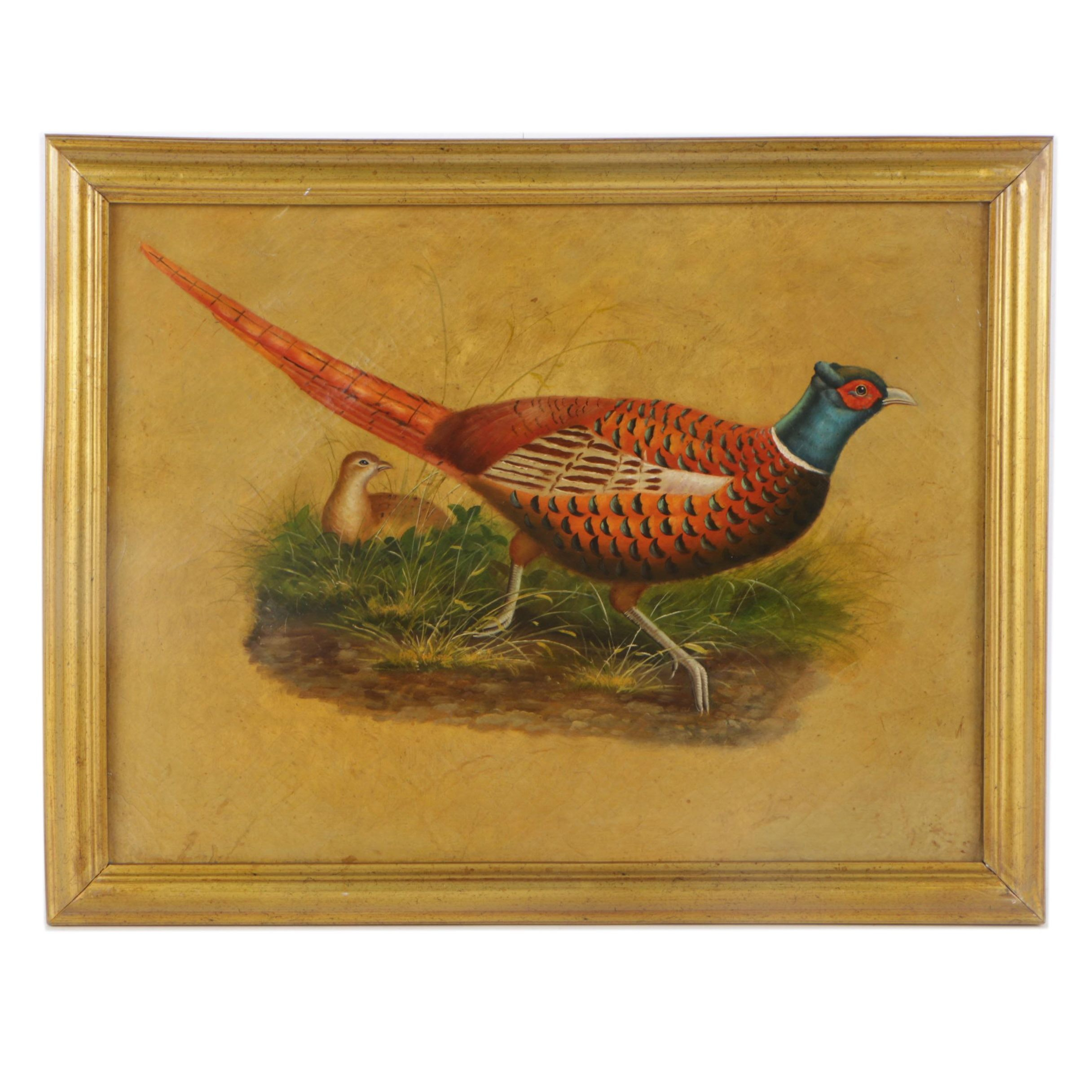 Oil Painting on Canvas of Ring Neck Pheasants