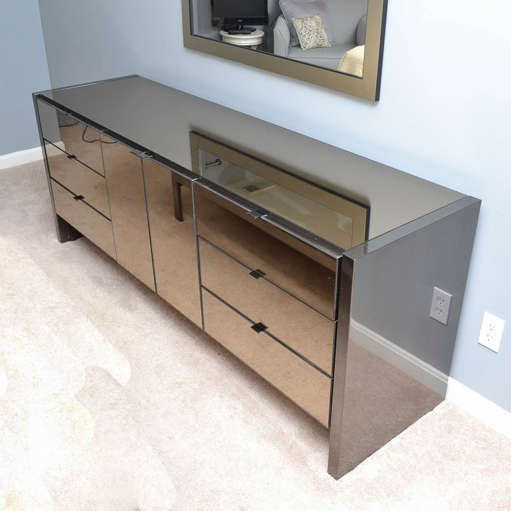 Ello Chrome Dresser with Mirror and Bedside Chest