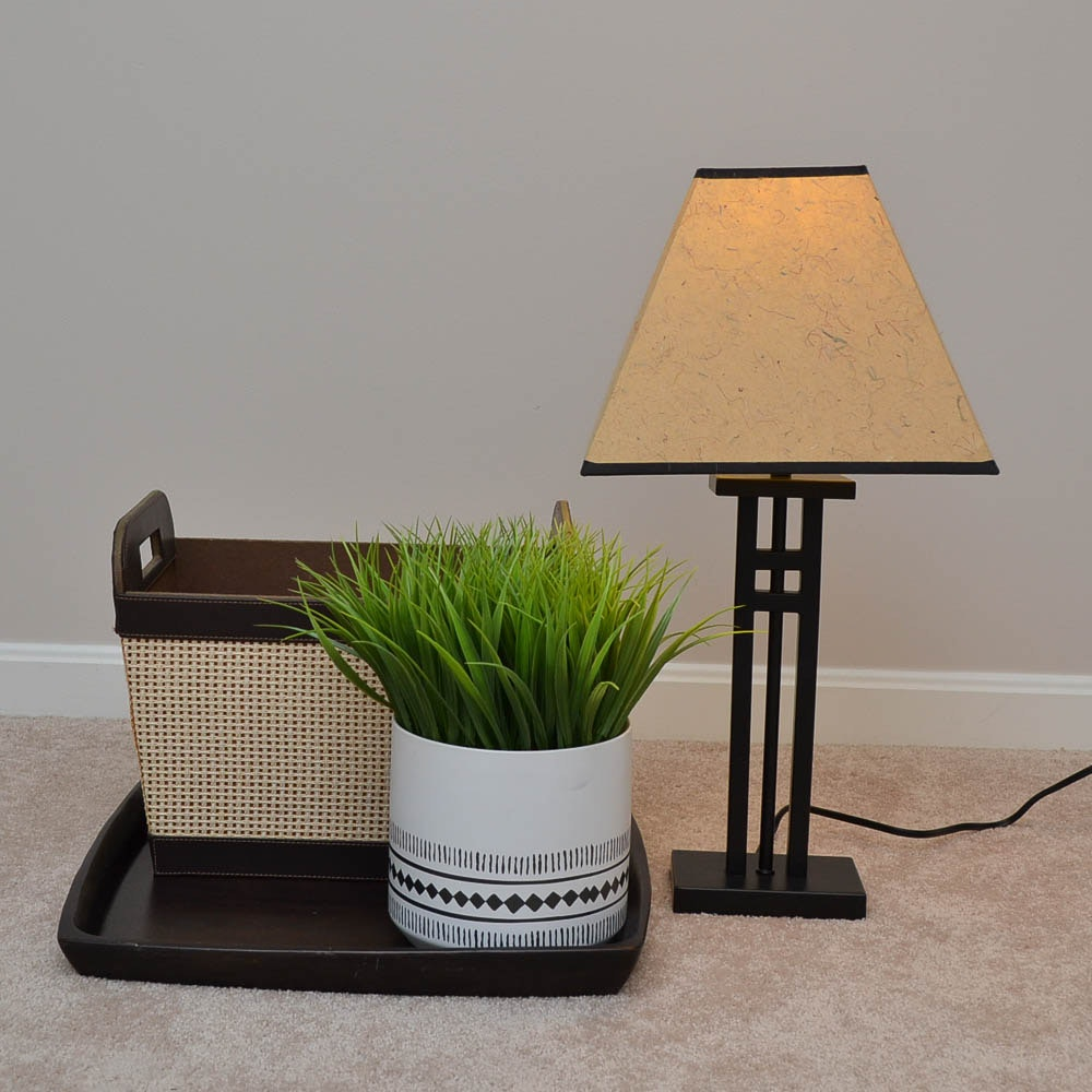 Craftsman Style Lamp and Ceramic Planter