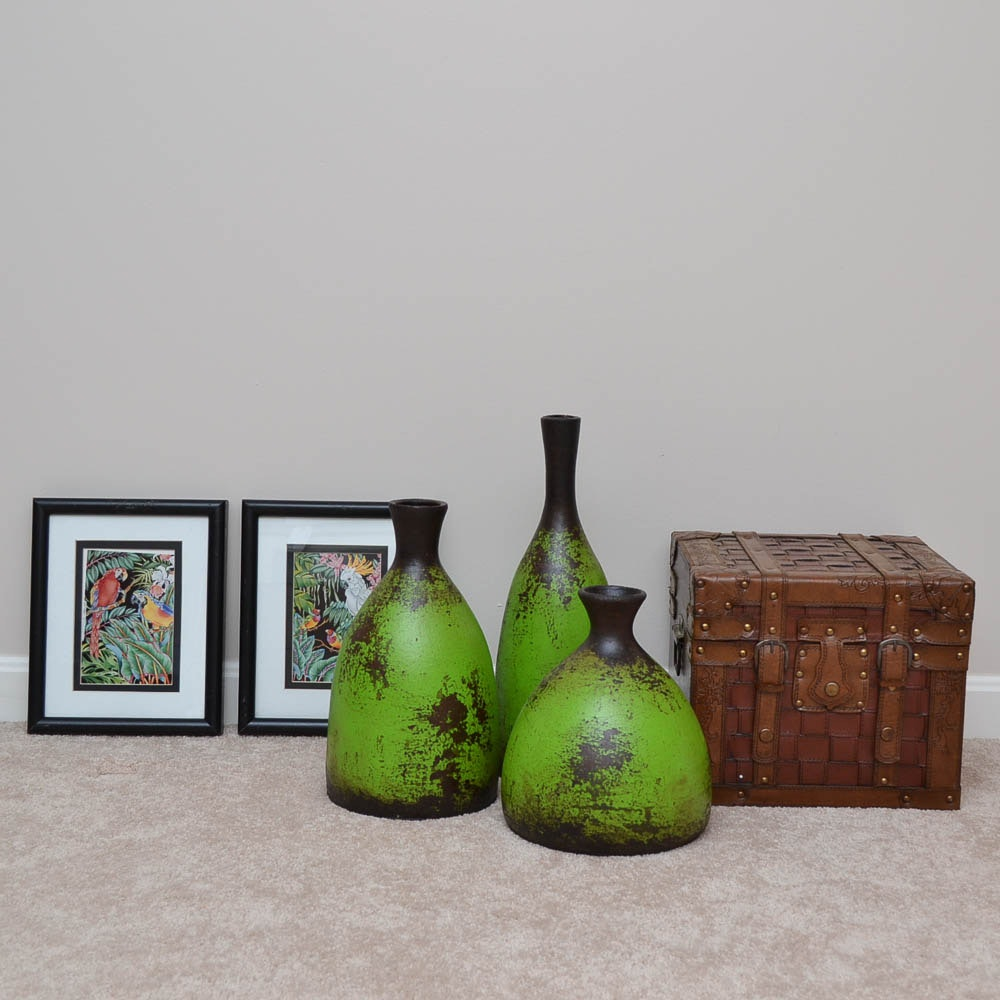 Ceramic Vases, Wood Trunk and Parrot Offset Lithographs