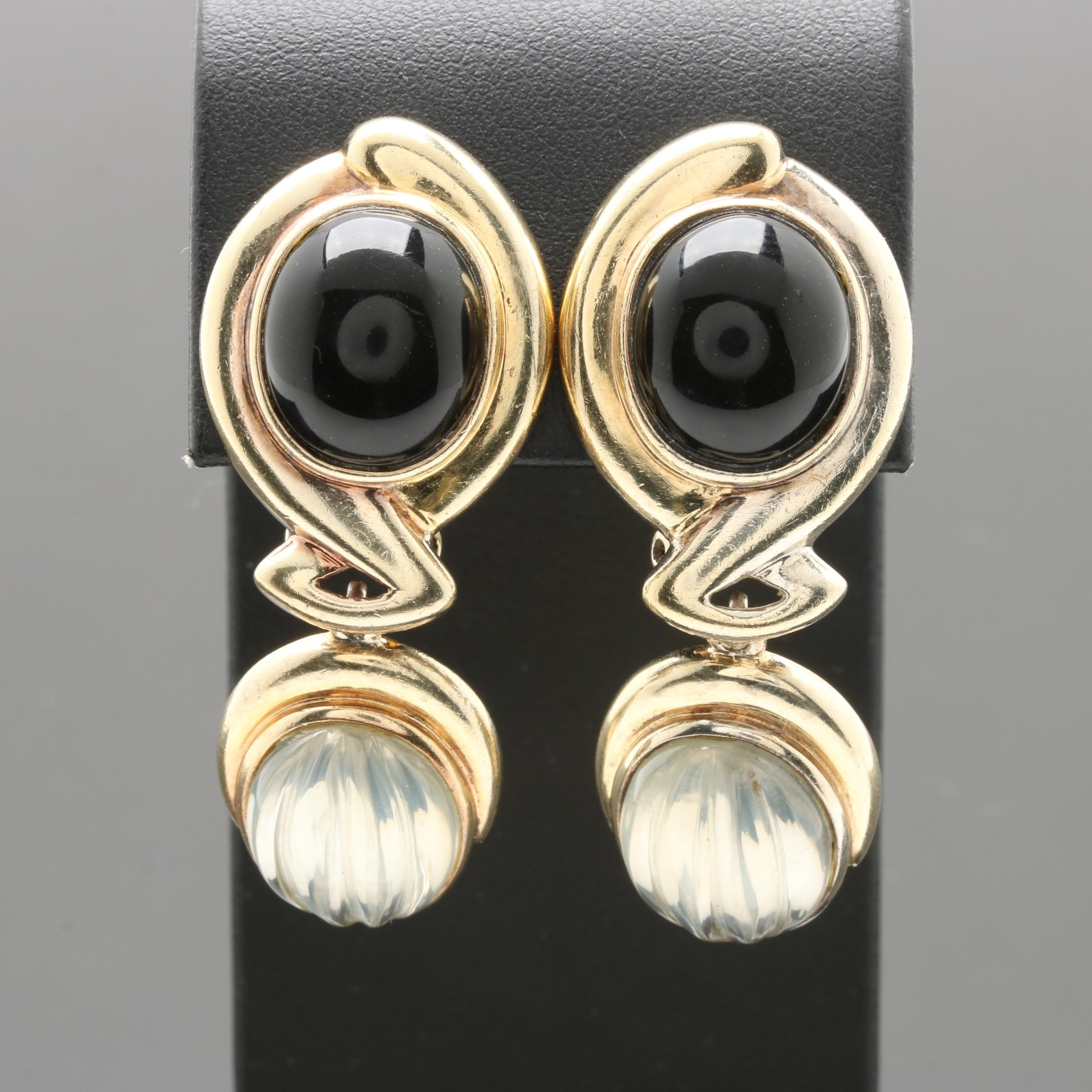 Kai-Yin Lo Gold Wash on Sterling Silver Black Onyx and Quartz Crystal Earrings