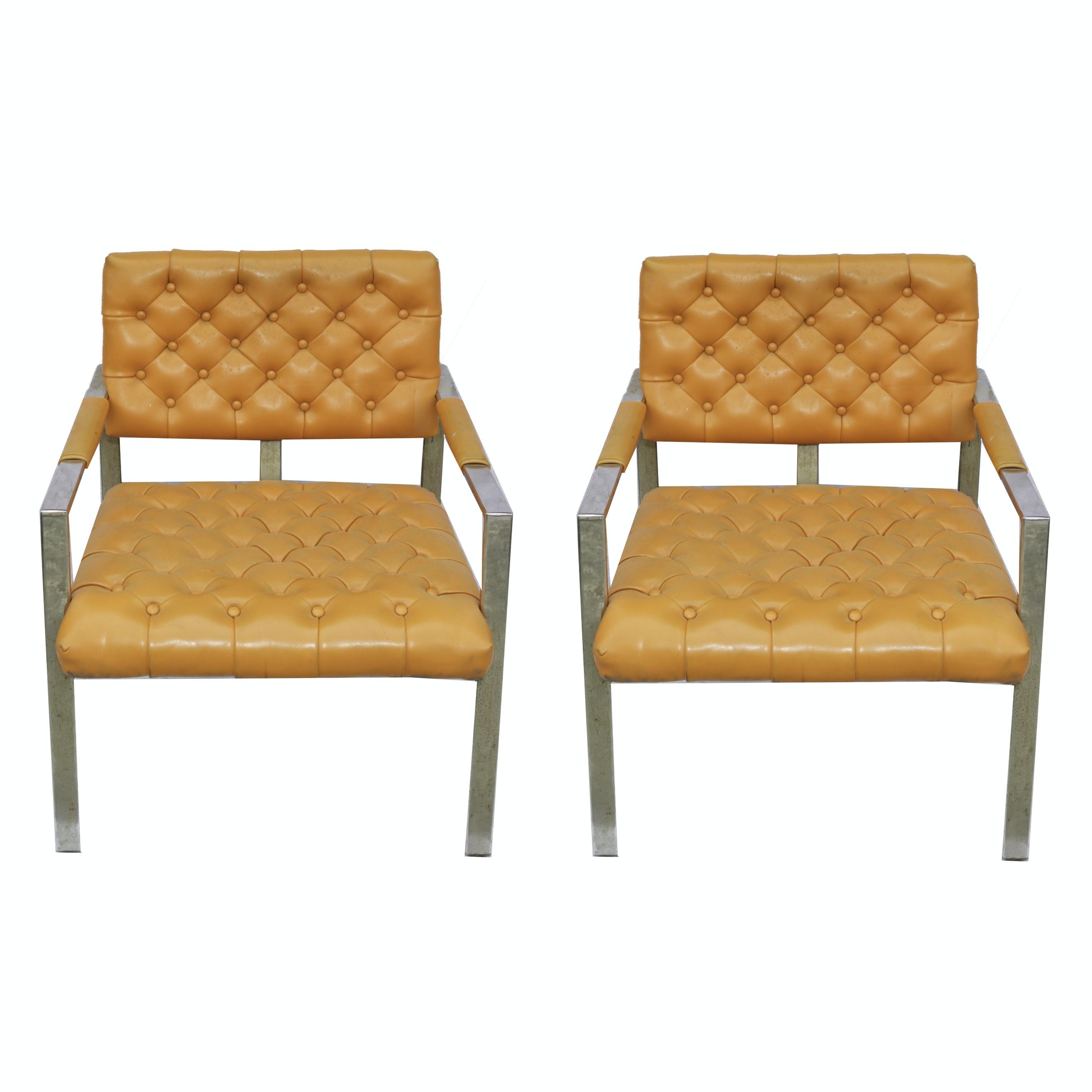 Mid Century Modern Orange Vinyl Armchairs by Milo Baughman Thayer Coggin