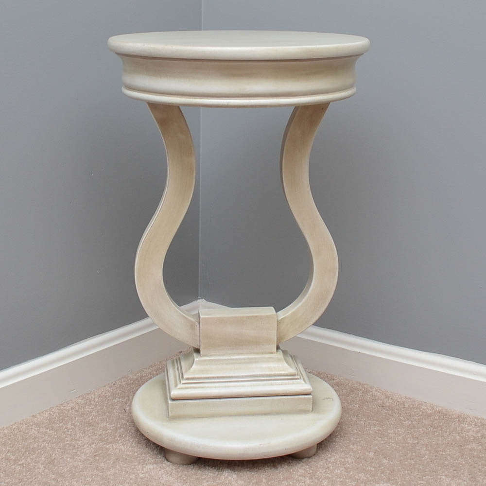 Painted Lyre-Form Accent Table