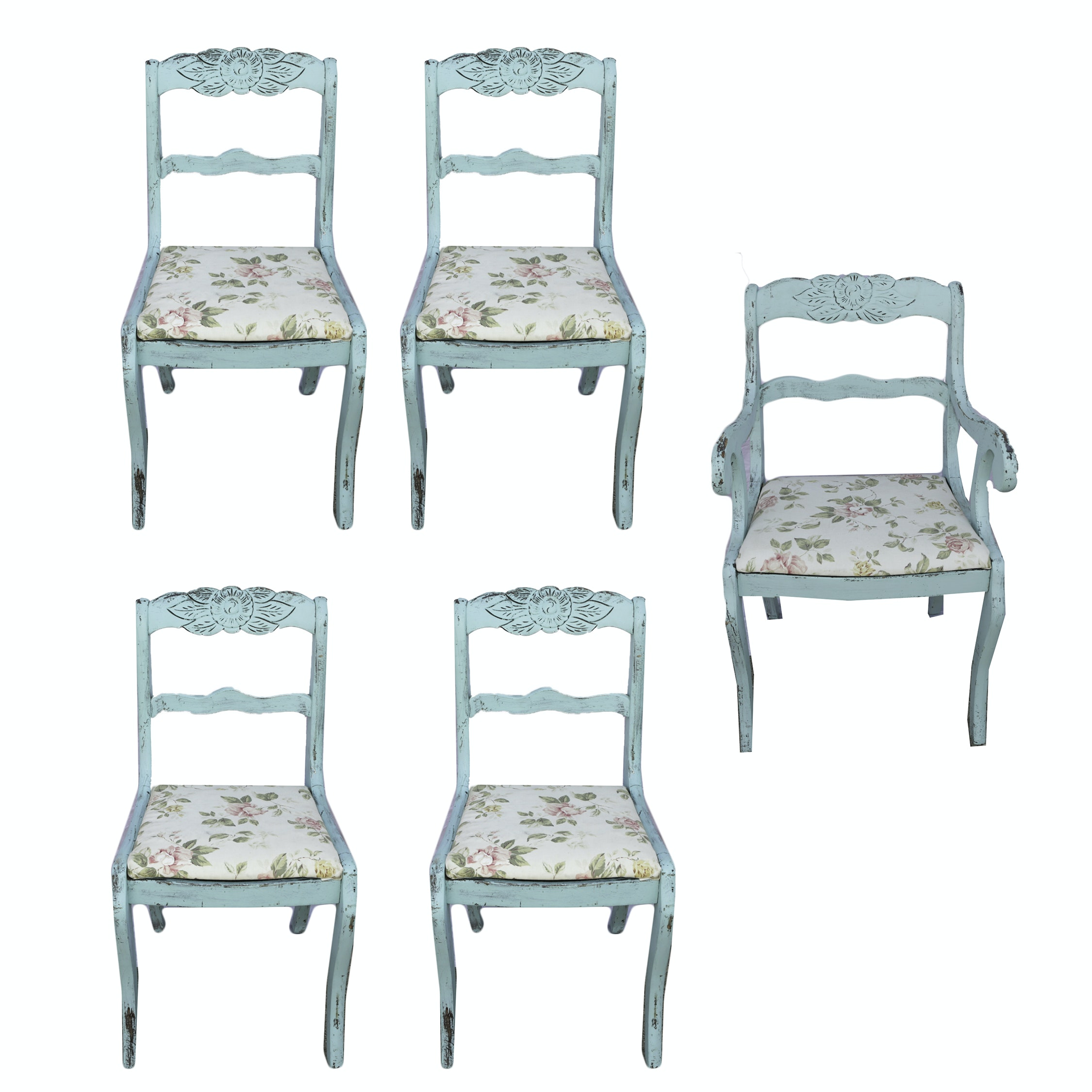 Five Vintage Painted Rose-Back Chairs