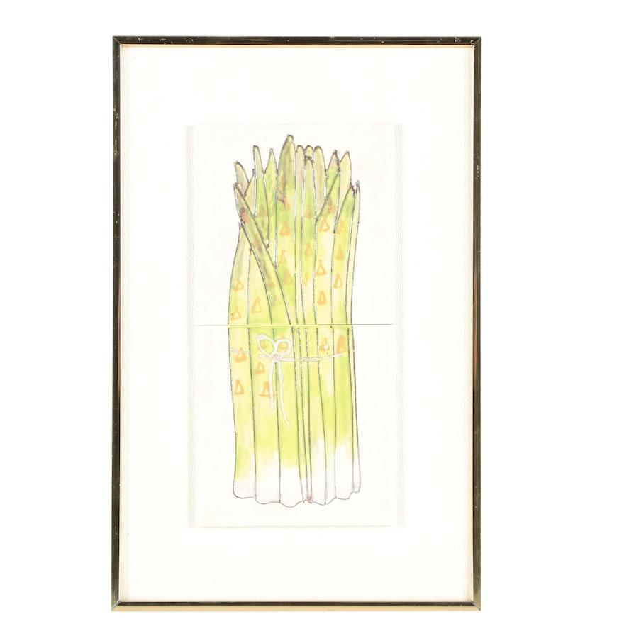 Harris G. Strong Mid-Century Ceramic Tile Wall Art of Asparagus : EBTH
