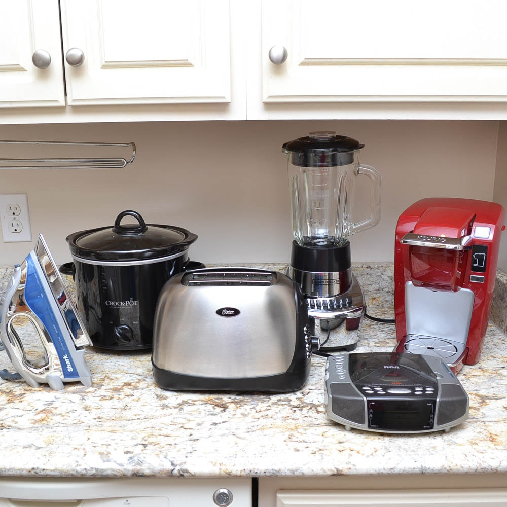 Small Kitchen Appliances Including Keurig, Crockpot and Shark Clothes Iron