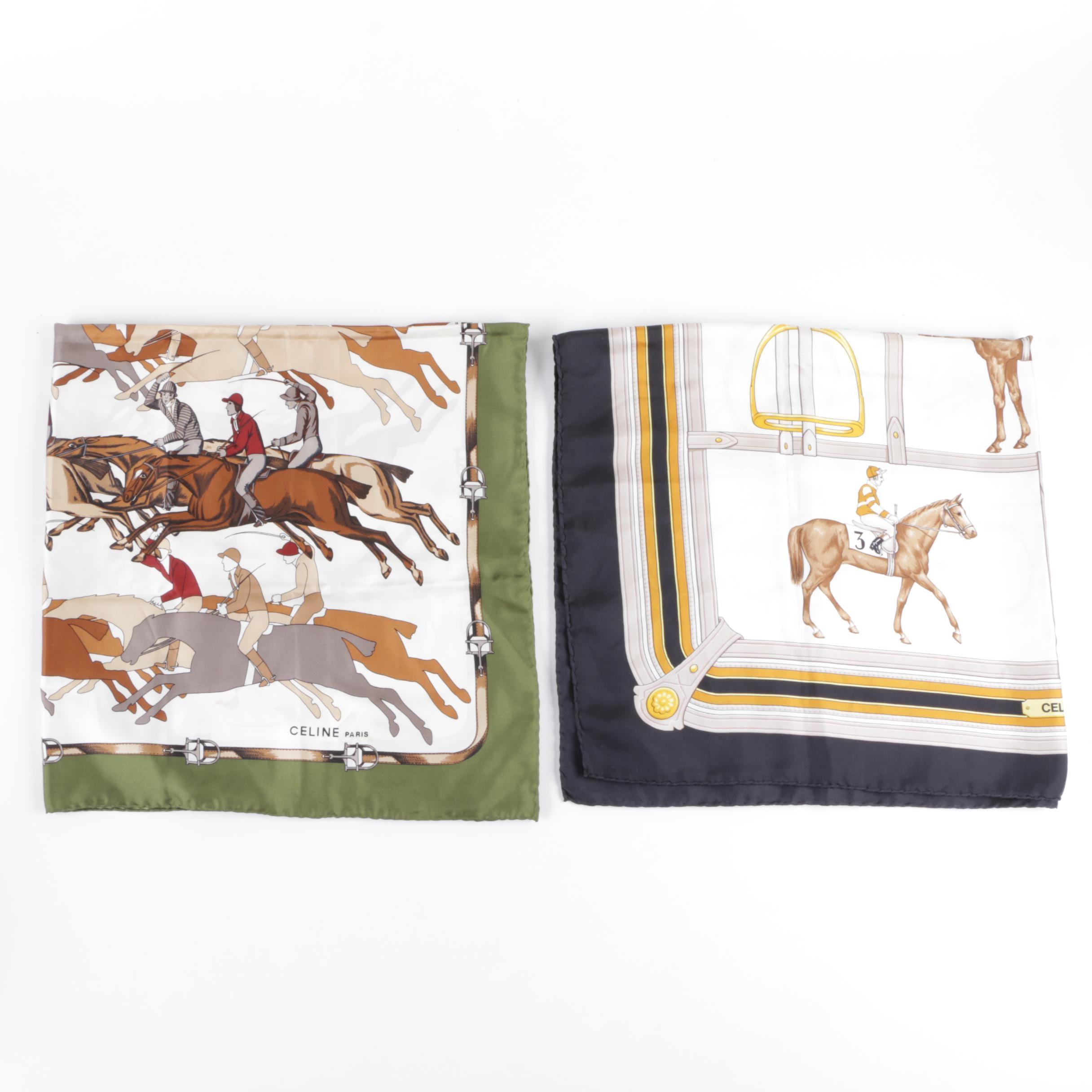 Céline Equestrian Print Silk Scarves