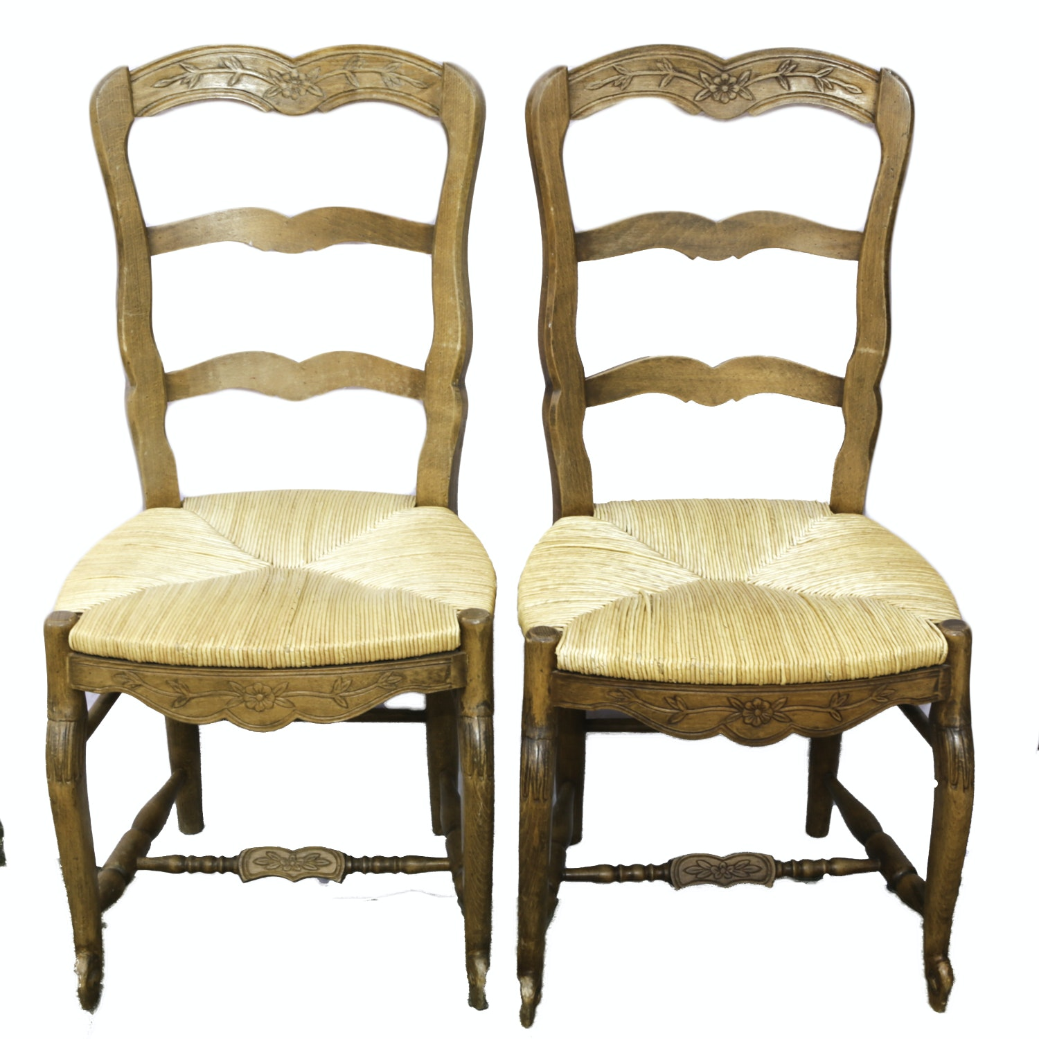 Pair of French Provincial Carved Beech Side Chairs