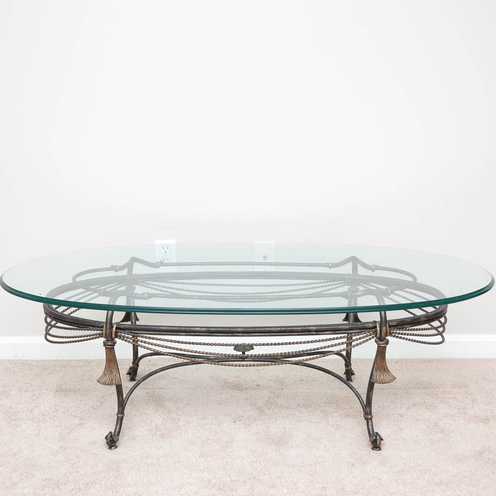 Glass Top Tasseled Iron Coffee Table from La Barge