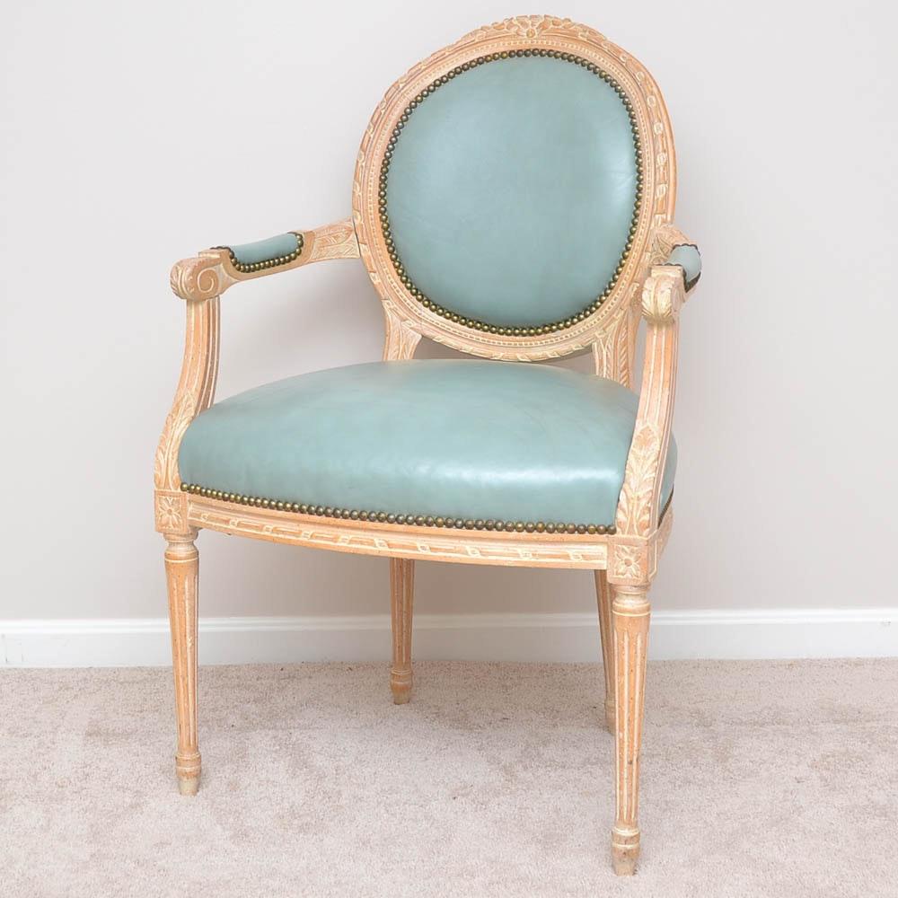 Louis XVI Style Leather Armchair