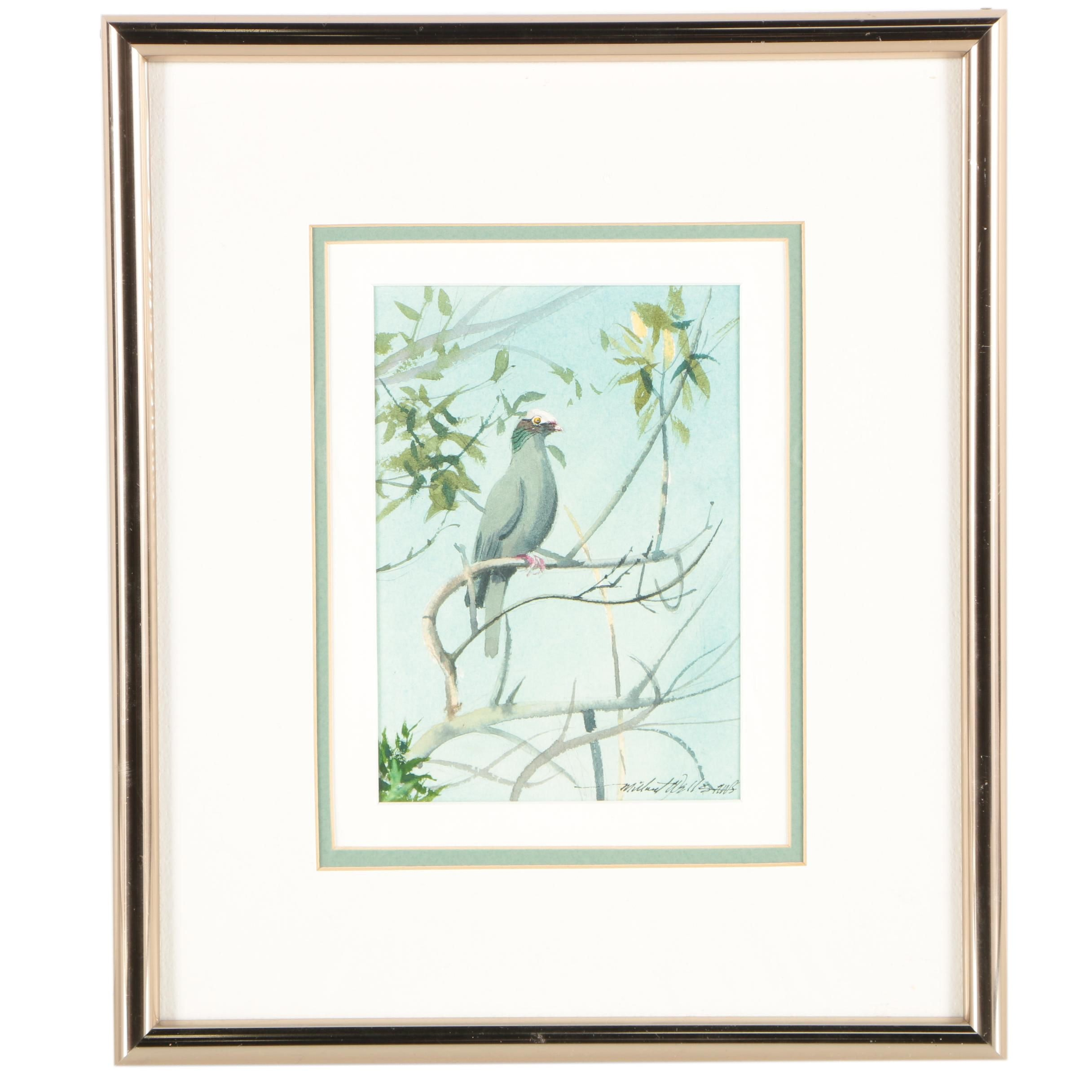 Millicent Wells Watercolor Painting of a Bird