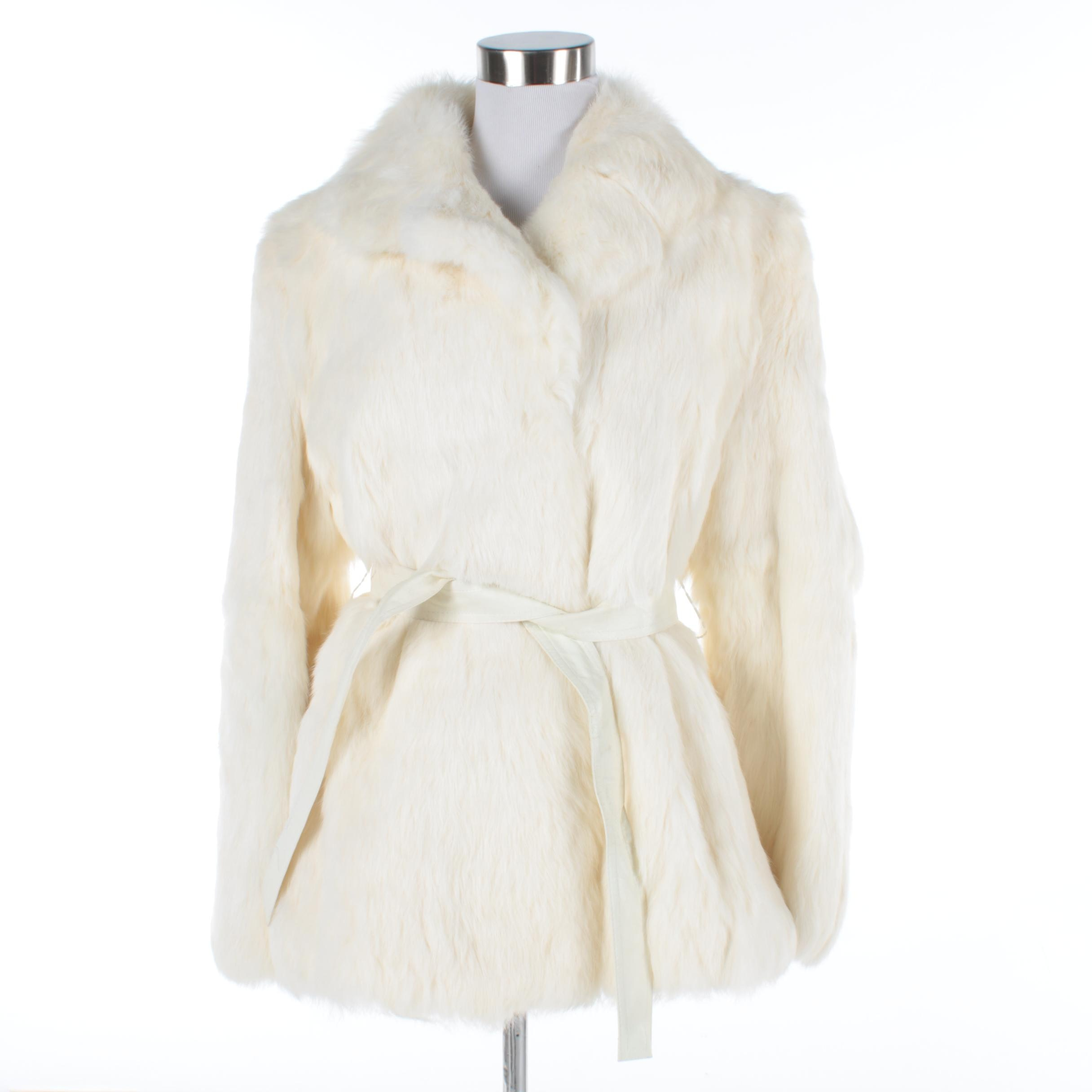 Women's White Rabbit Fur Coat