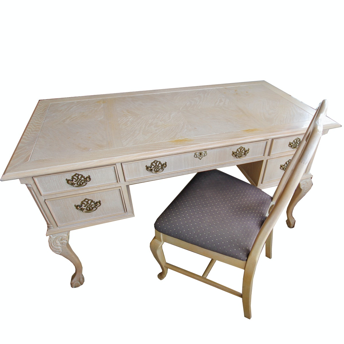 Chippendale Style Kneehole Desk with Chair