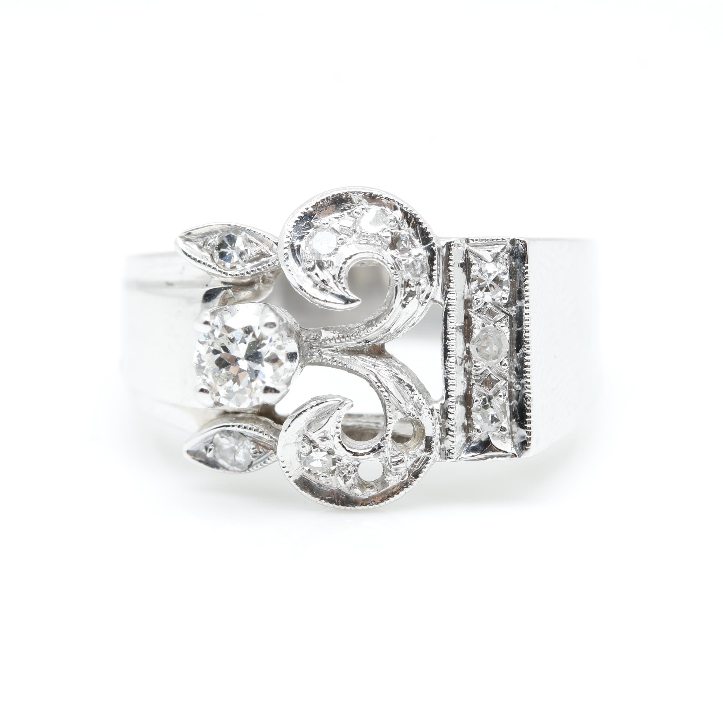 Retro 14K White Gold Diamond Abstract Ring