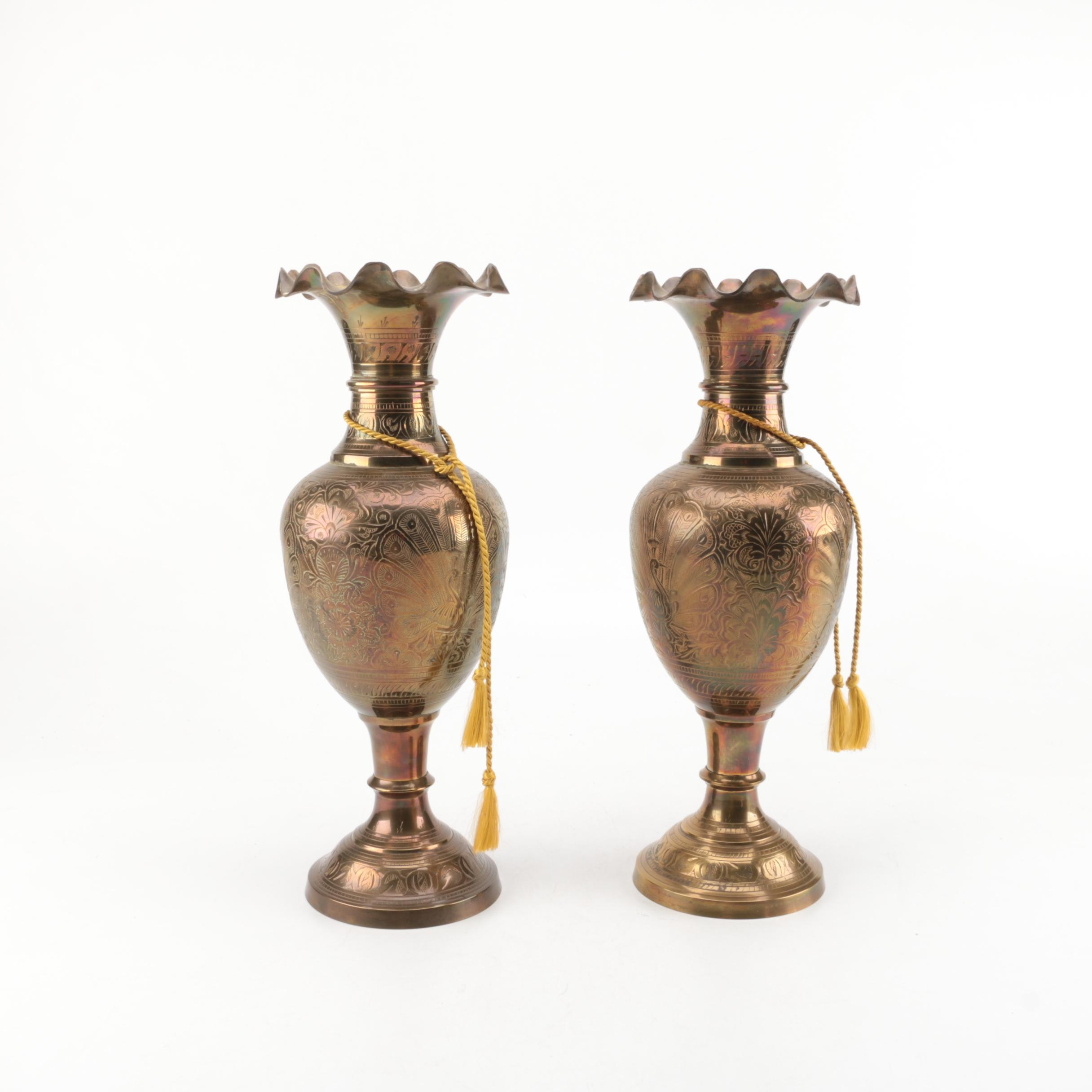 Ornate Peacock and Floral Motif Brass Vases