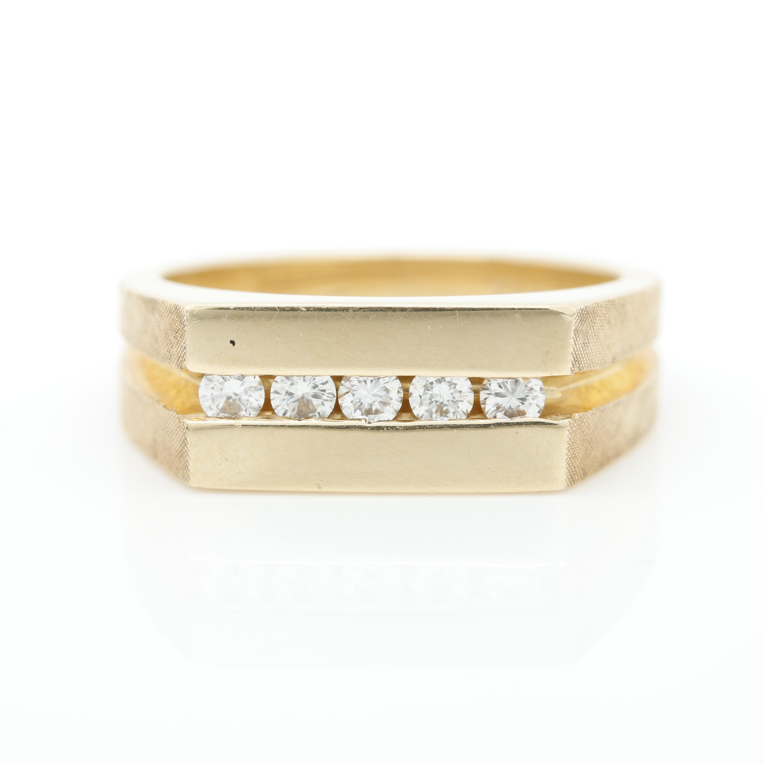 Artcarved 14K Yellow Gold Diamond Channel Band