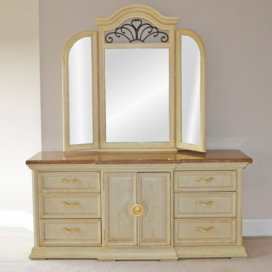 1930S Art Deco Bureau With Mirror Ebth