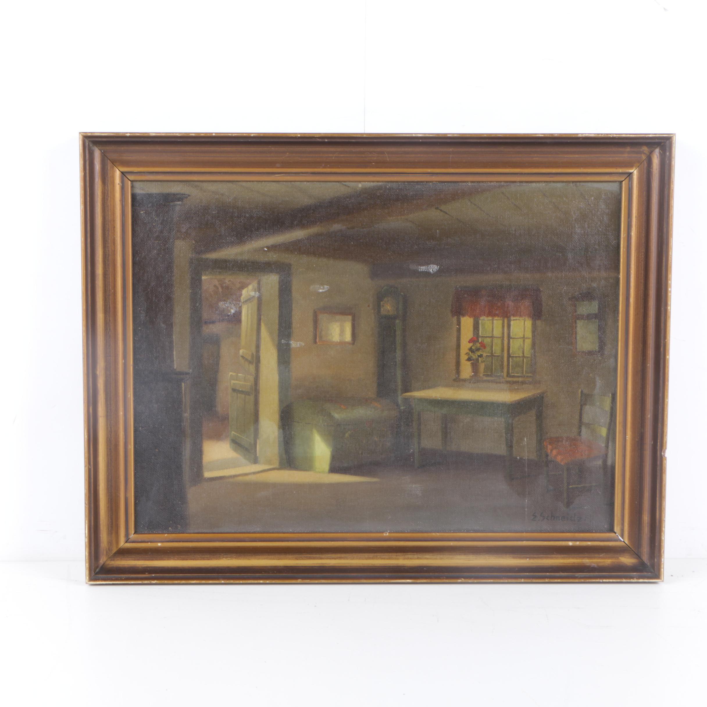 Emil Philippe Auguste Schneider Oil Painting of an Interior Scene