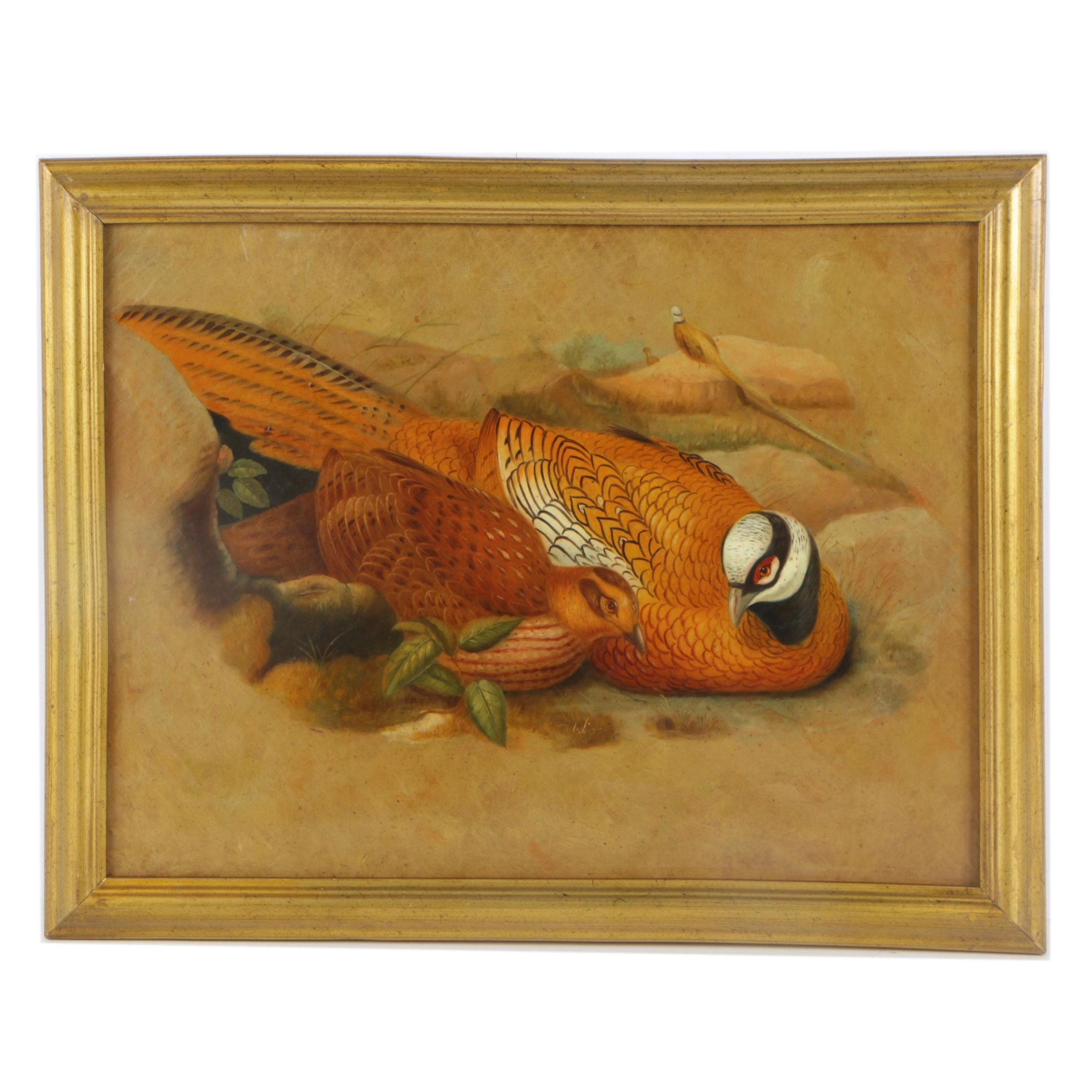 Oil Painting on Canvas of Reeves's Pheasants