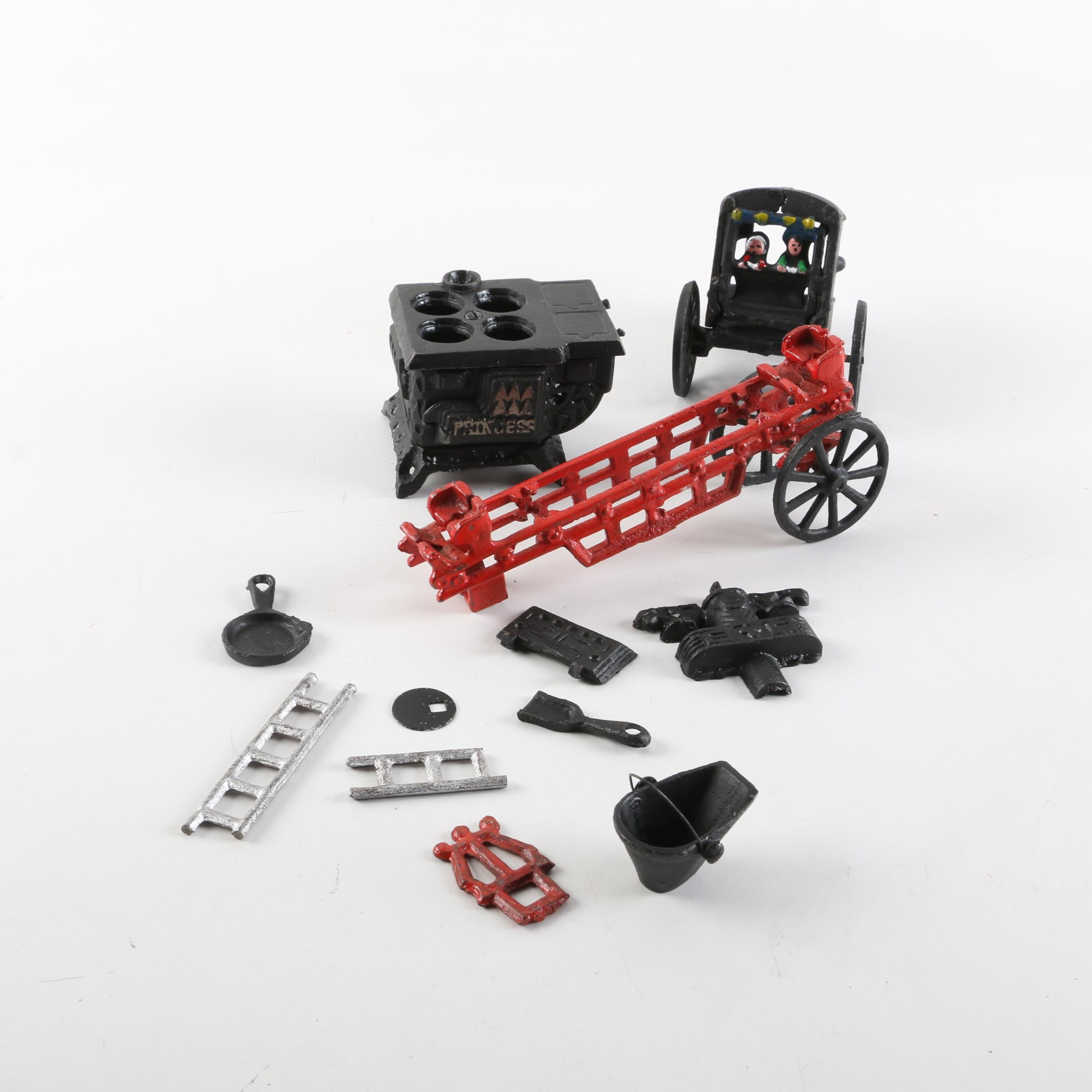 Cast Iron Miniature Stove and Other Items
