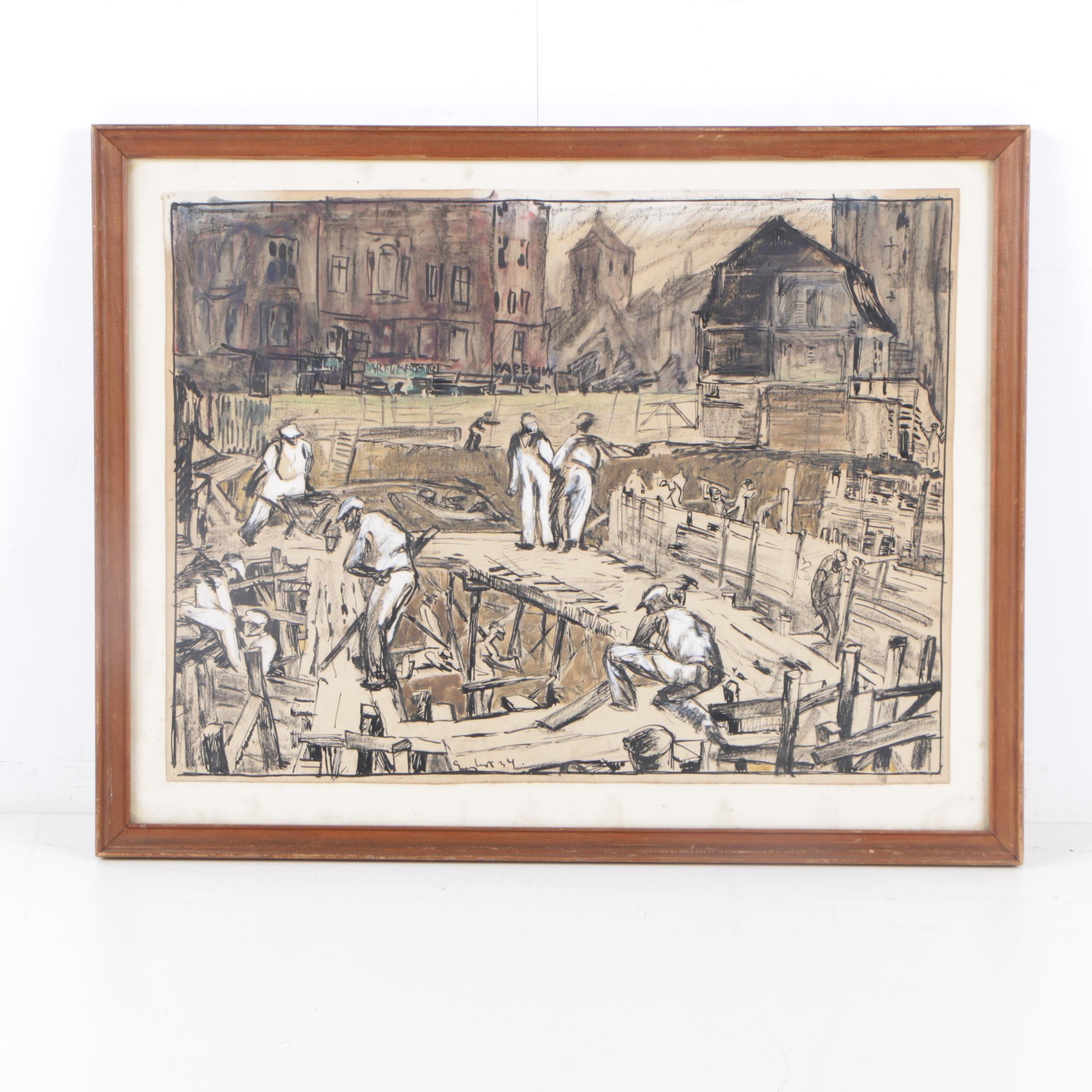 1934 Ink and Gouache Illustration of Construction Workers in Danish City