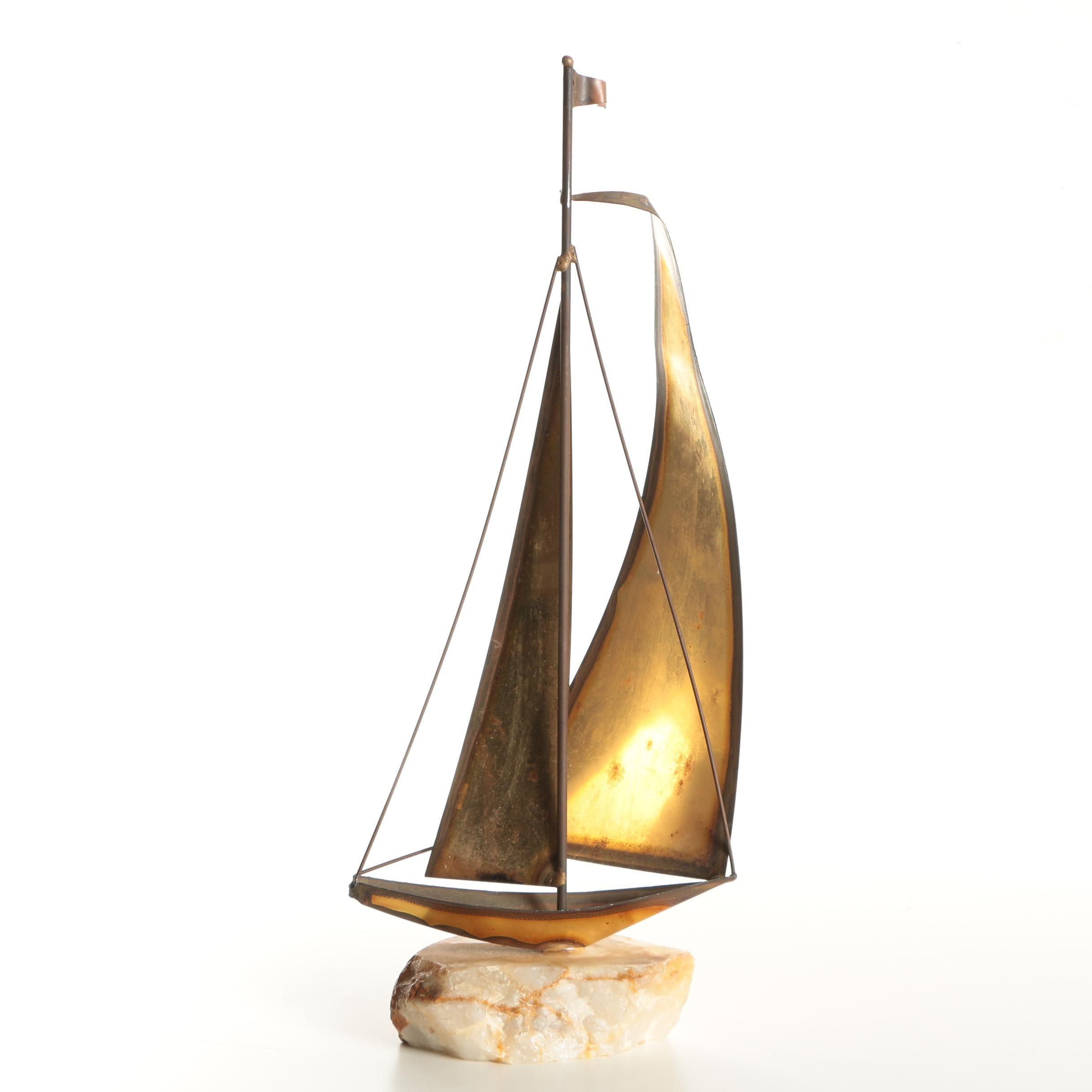 Curtis Jeré Signed Circa 1960s Copper Sailboat Sculpture on Quartz Base