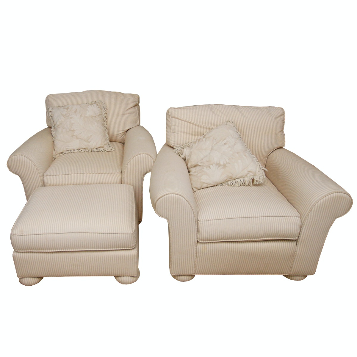Pair of Club Chairs and Ottoman by Decoy