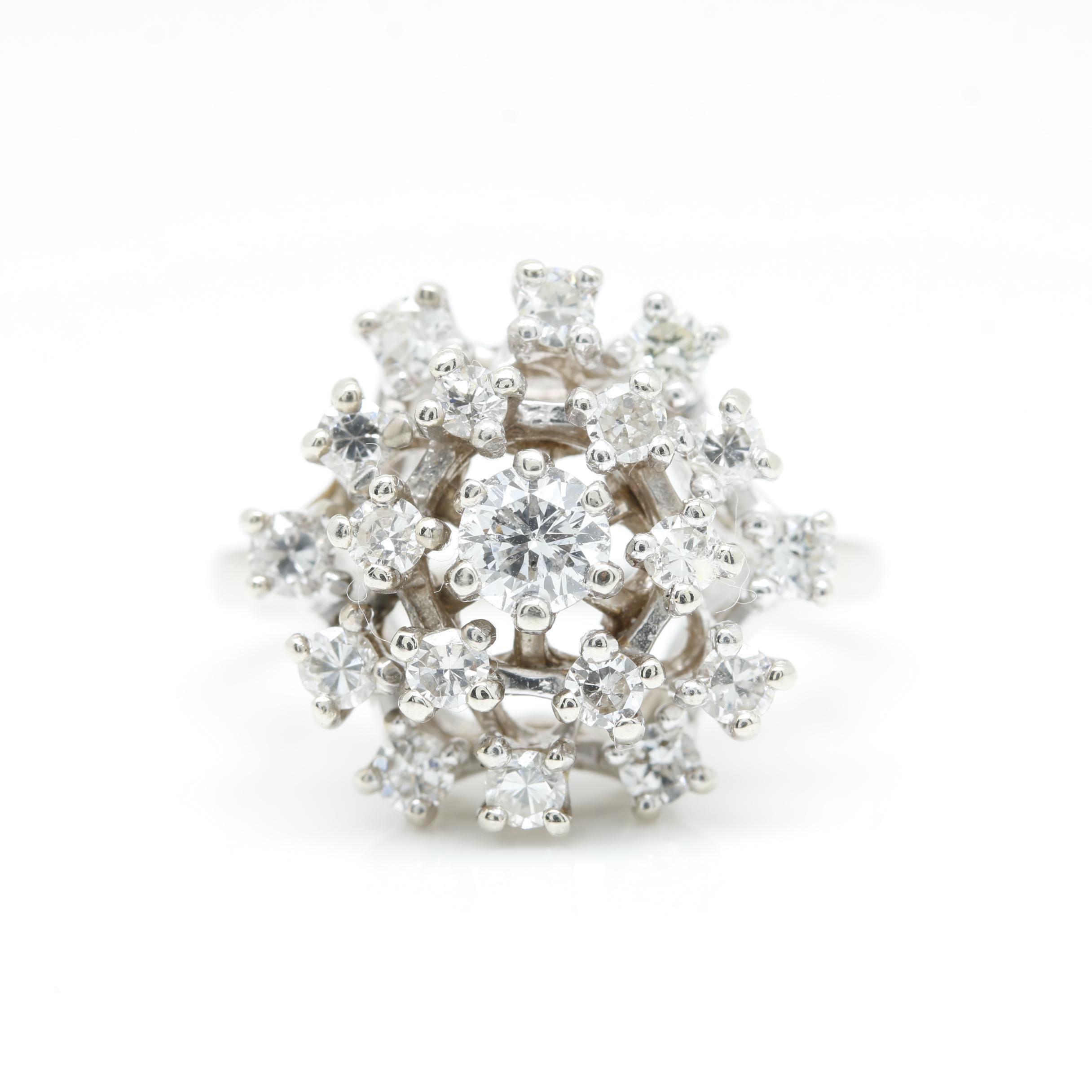 14K White Gold 1.06 CTW Diamond Cluster Ring