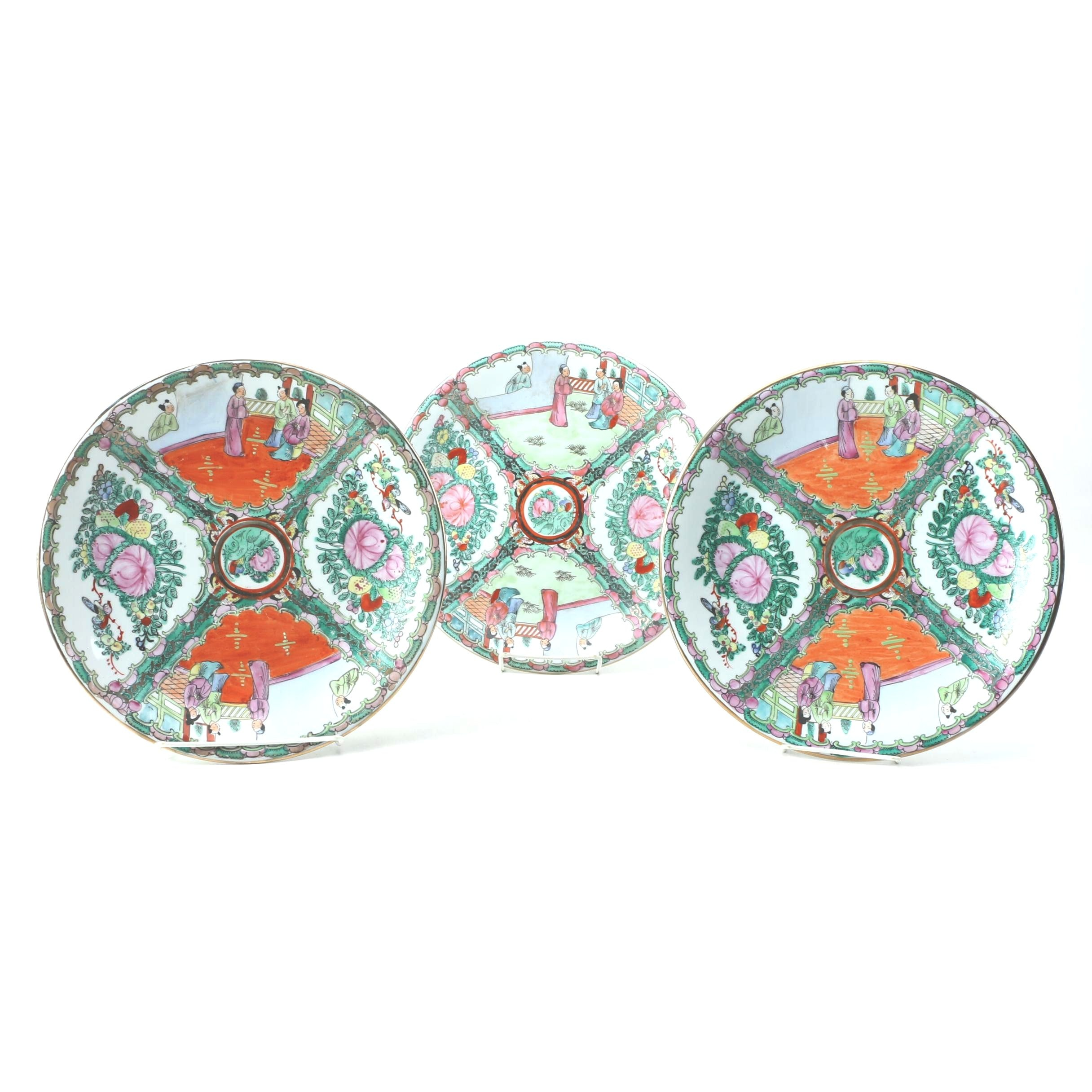 Vintage Chinese Rose Medallion Porcelain Platters