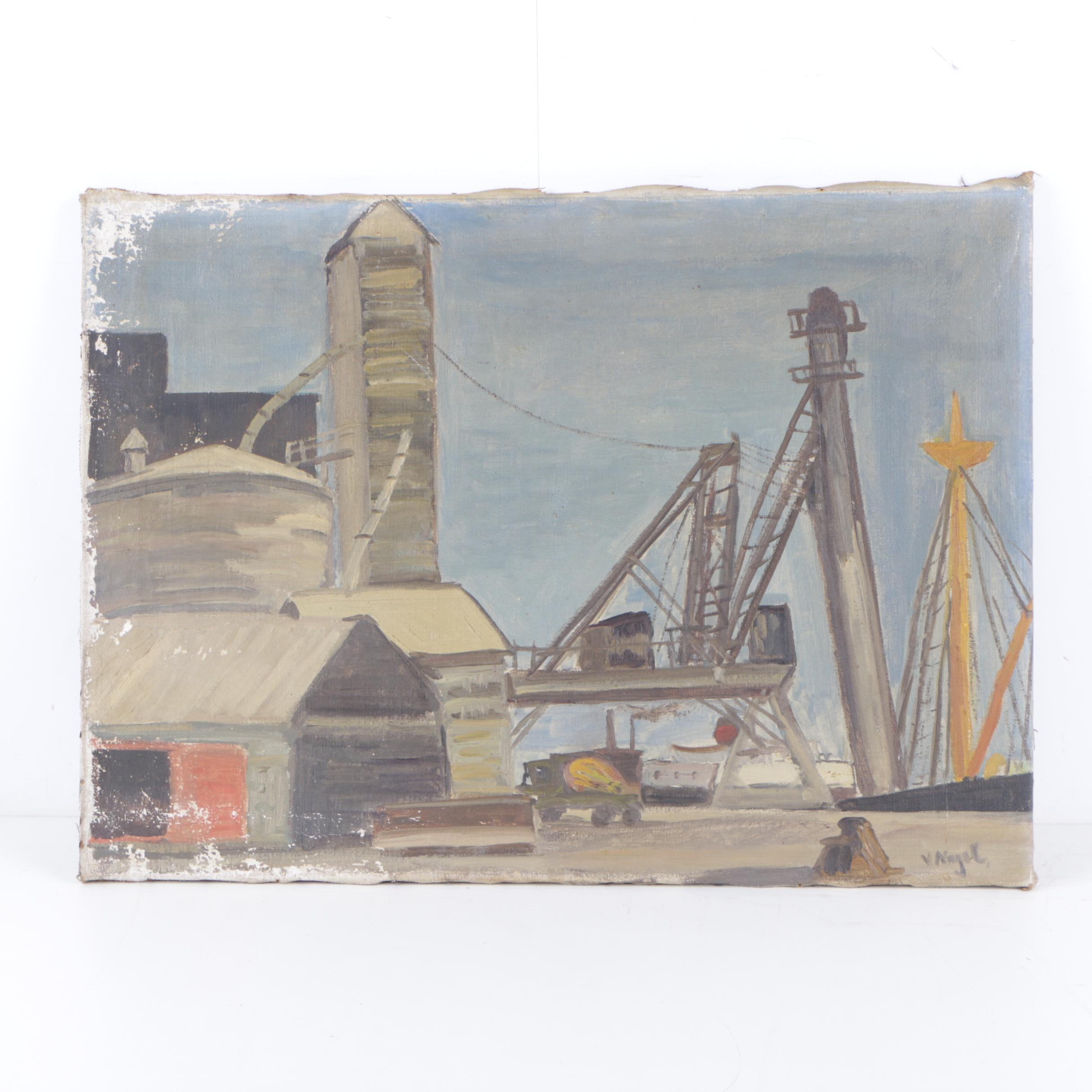 Valentin Nagel Oil Painting of a Industrial landscape