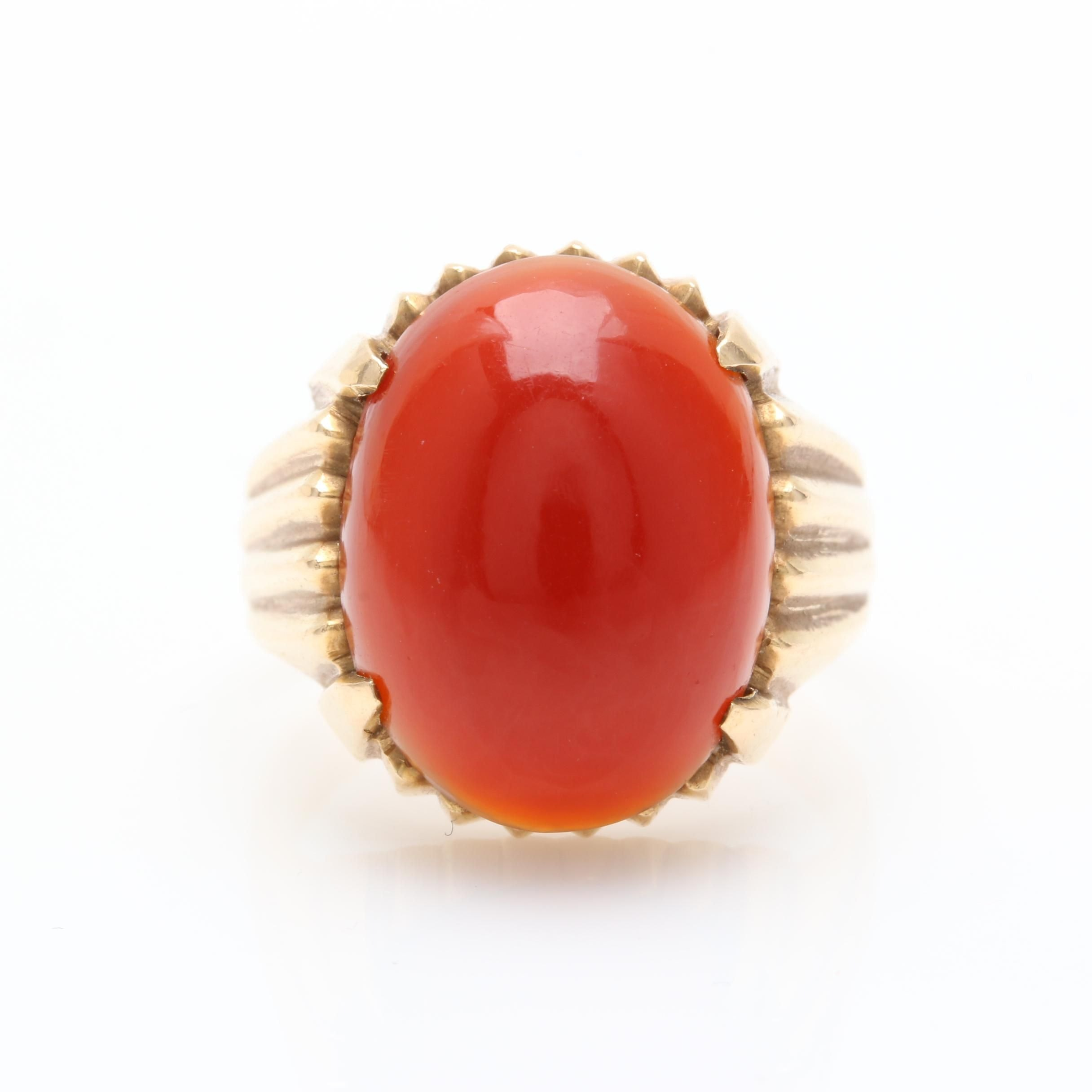 18K Yellow Gold Carnelian Solitaire Cocktail Ring