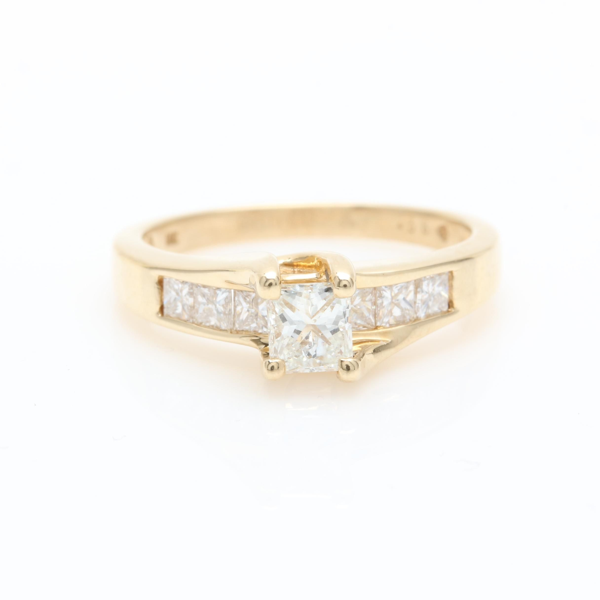 14K Yellow Gold Diamond Fire Over Ice Ring