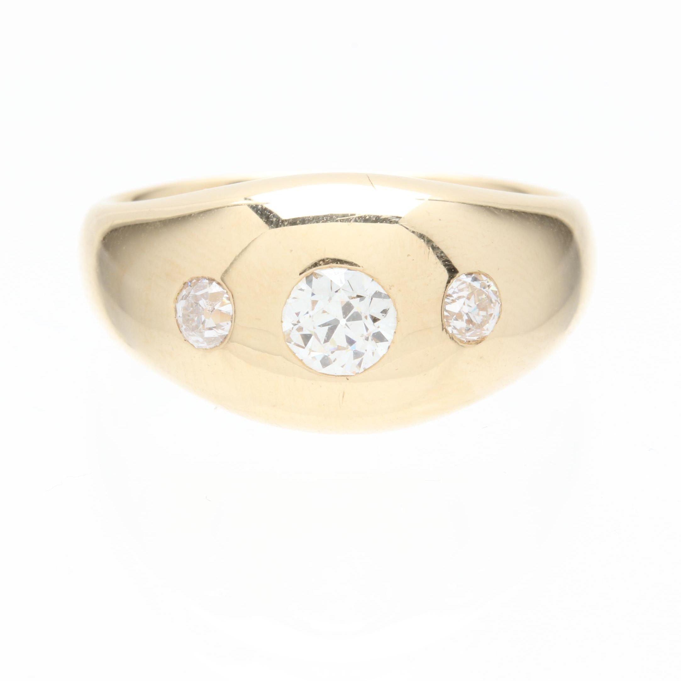 Jabel 14K Yellow Gold Diamond Gypsy Set Ring