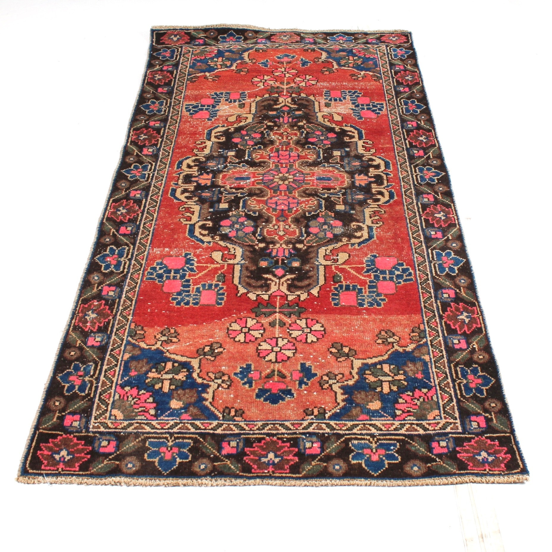 Semi-Antique Hand-Knotted Persian Malayer Sarouk Runner Rug