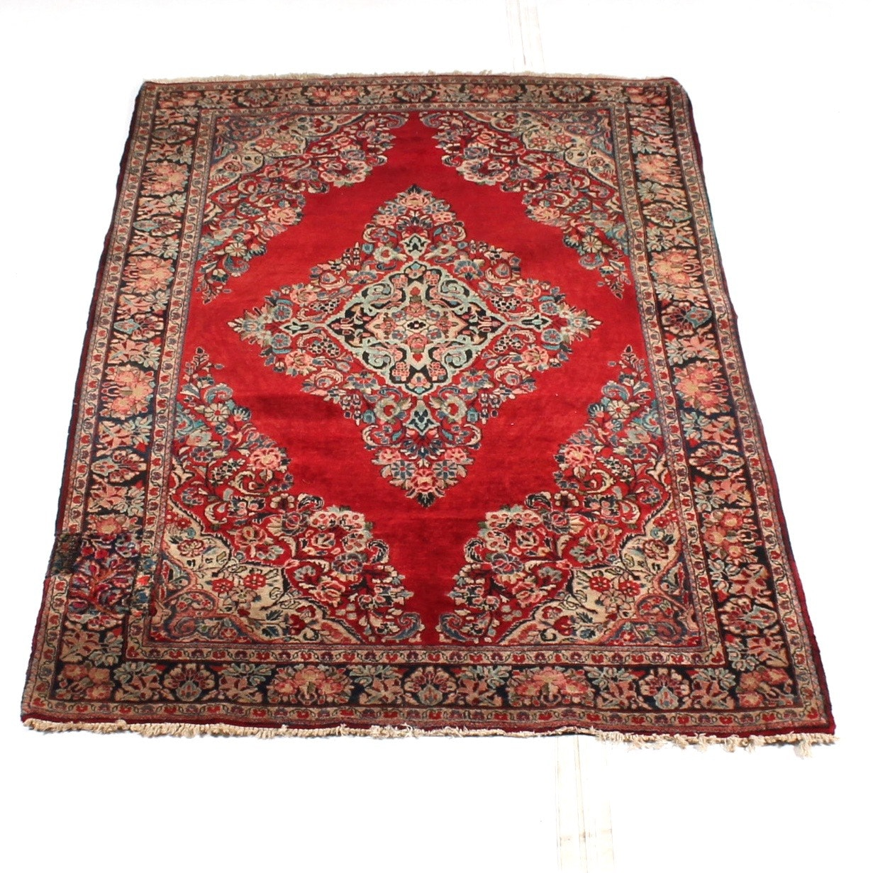 Antique Hand-Knotted Persian Sarouk Rug