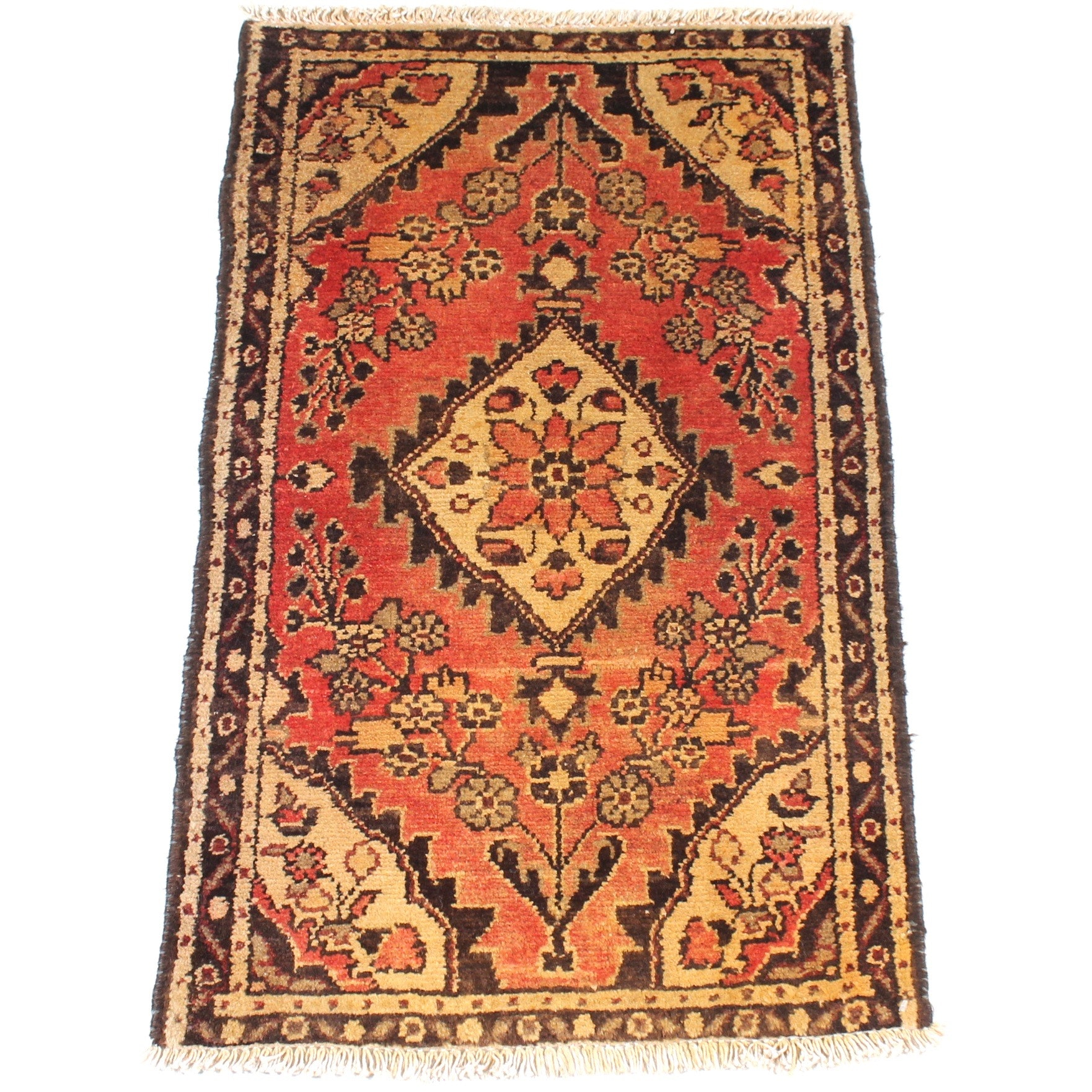 Semi-Antique Hand-Knotted Persian Zanjan Rug