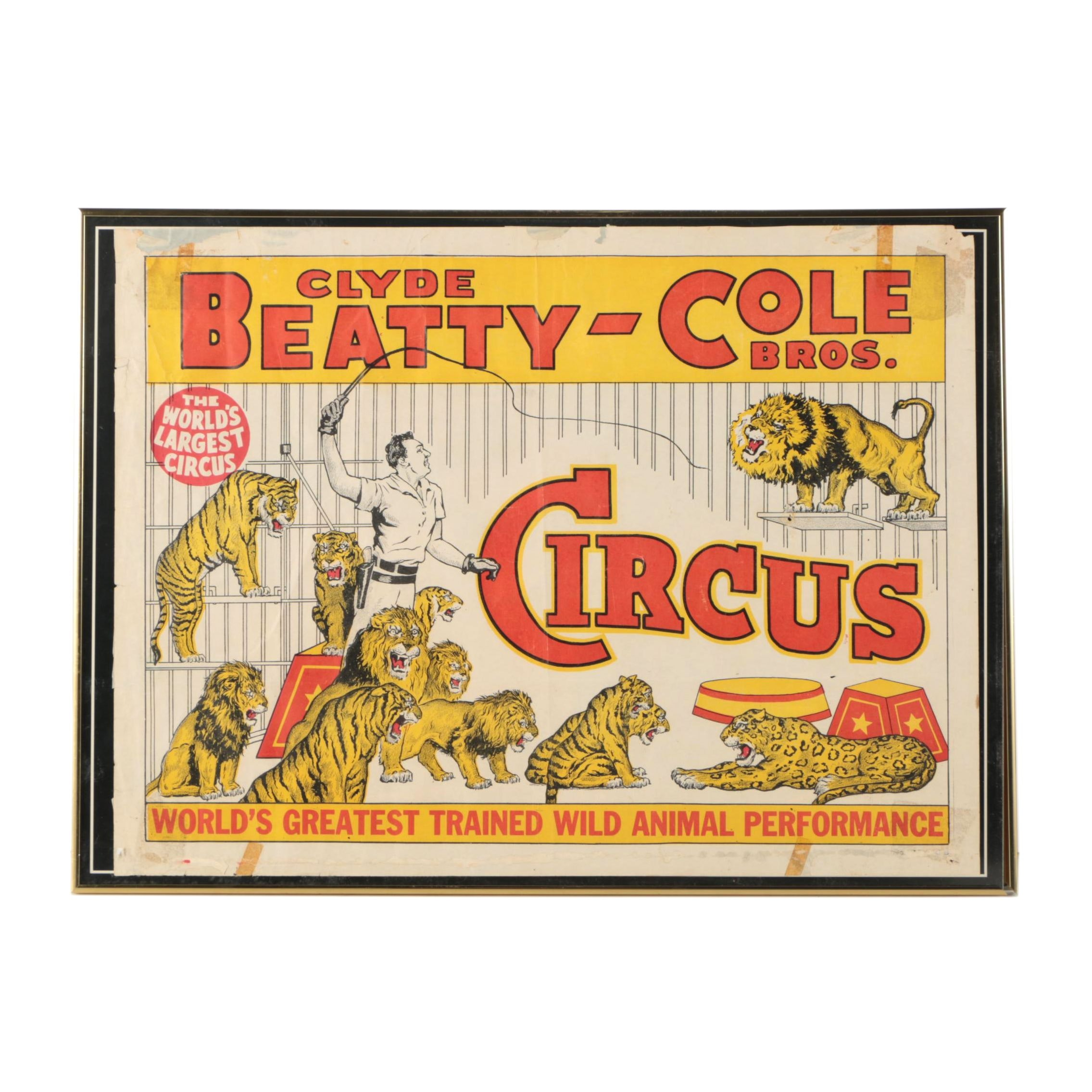 "Lithograph Poster ""Clyde Beatty-Cole Bros. Circus"""