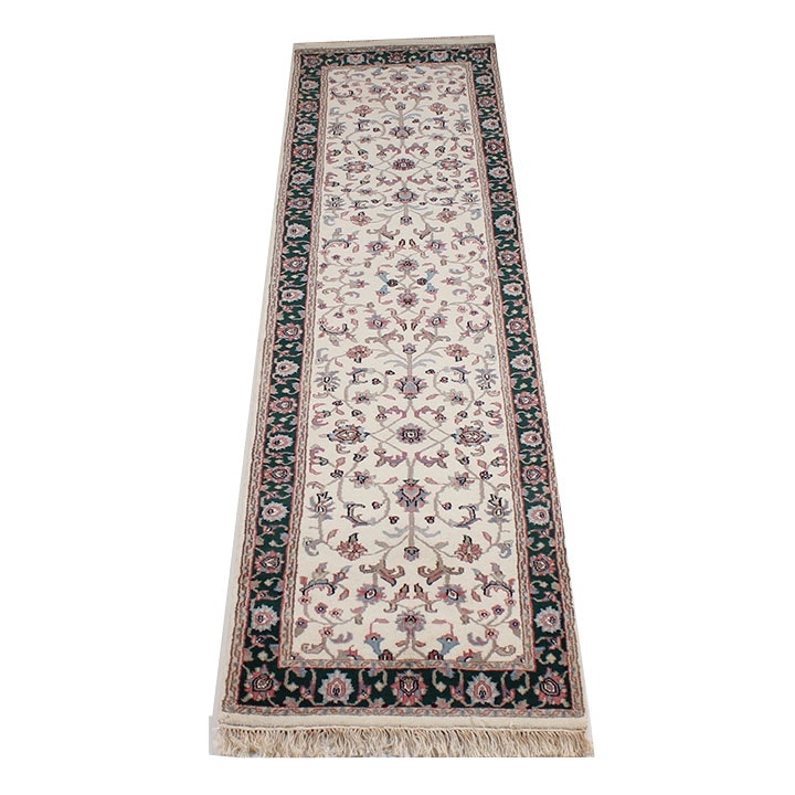 Hand-Knotted Indo-Persian Kashan Runner Rug