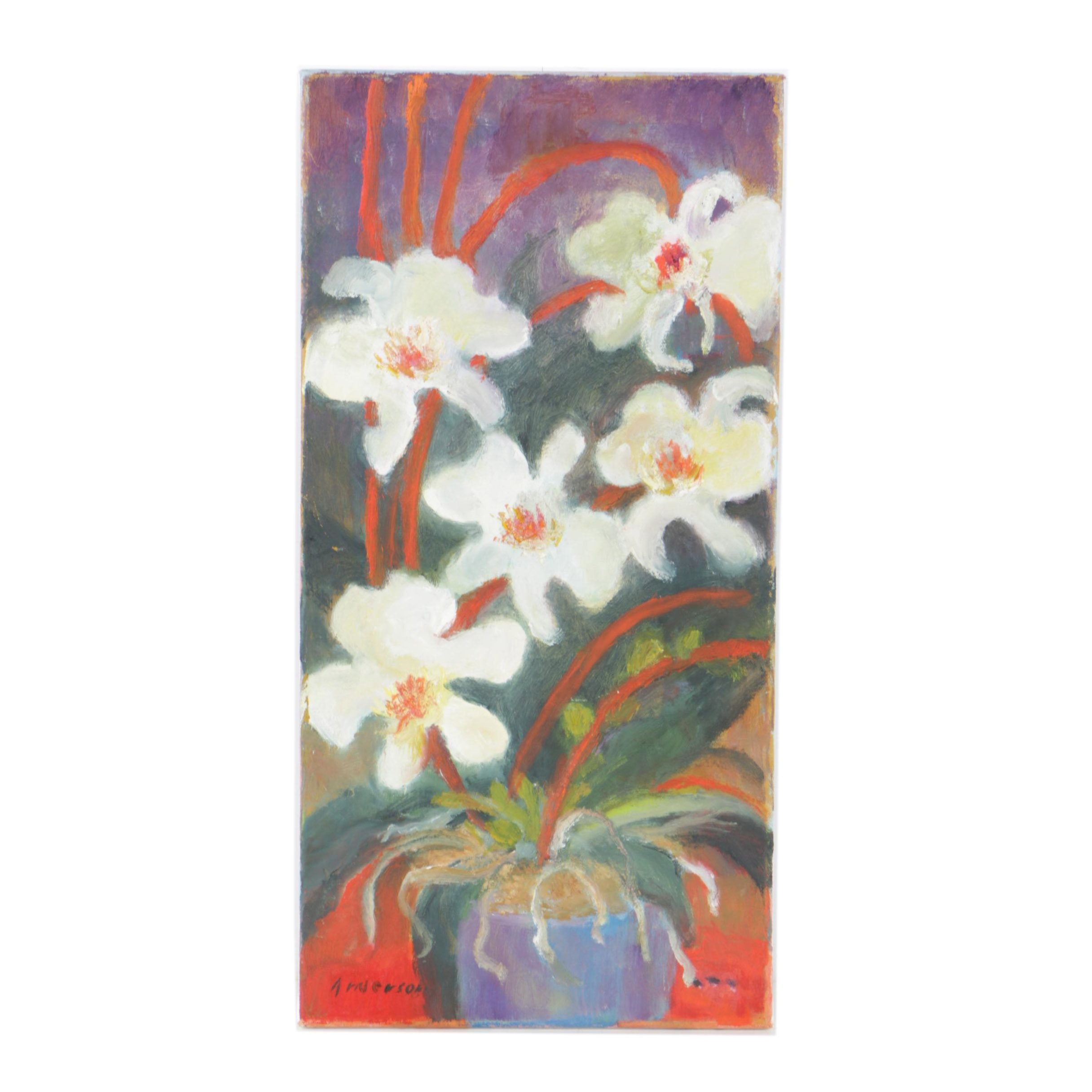 "Beth Anderson Oil Painting ""White Orchids on a Red Table"""
