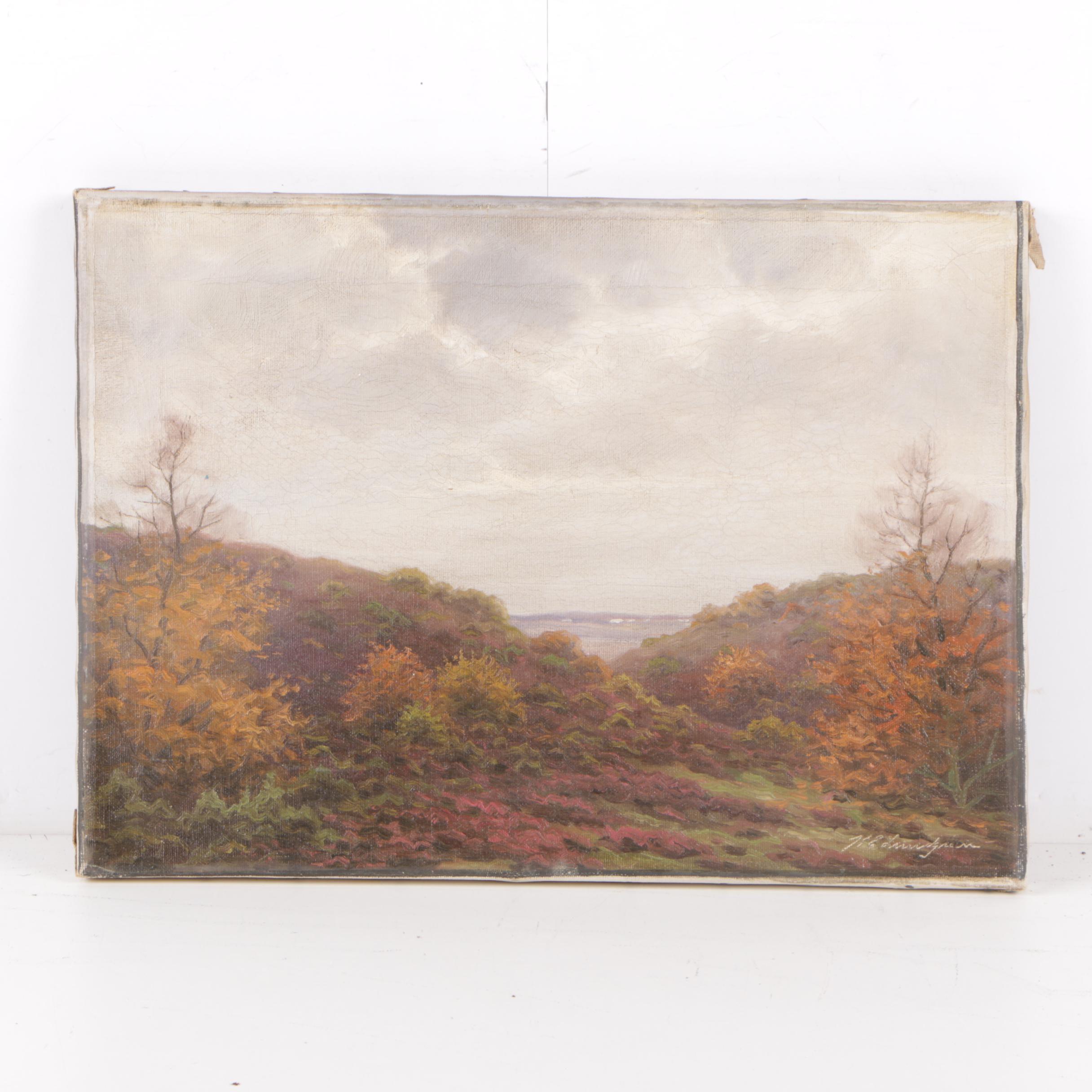 Karl Emil Lundgreen Mid Century Oil Painting of Coastal Landscape Scene
