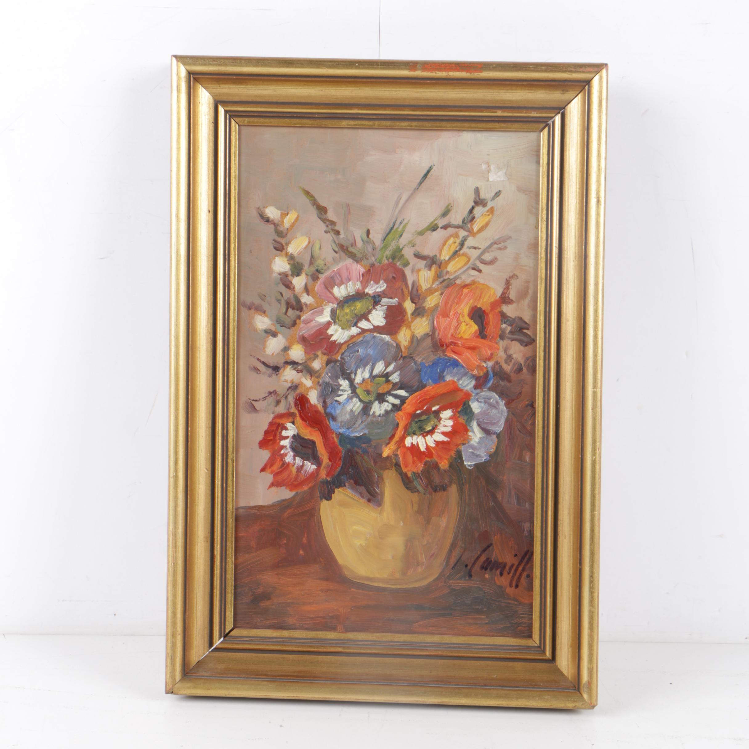 I. Lumill Circa 1960s Oil Painting of Floral Still Life