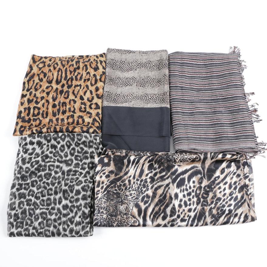 Five Animal Print Scarves Including Linda Hutton