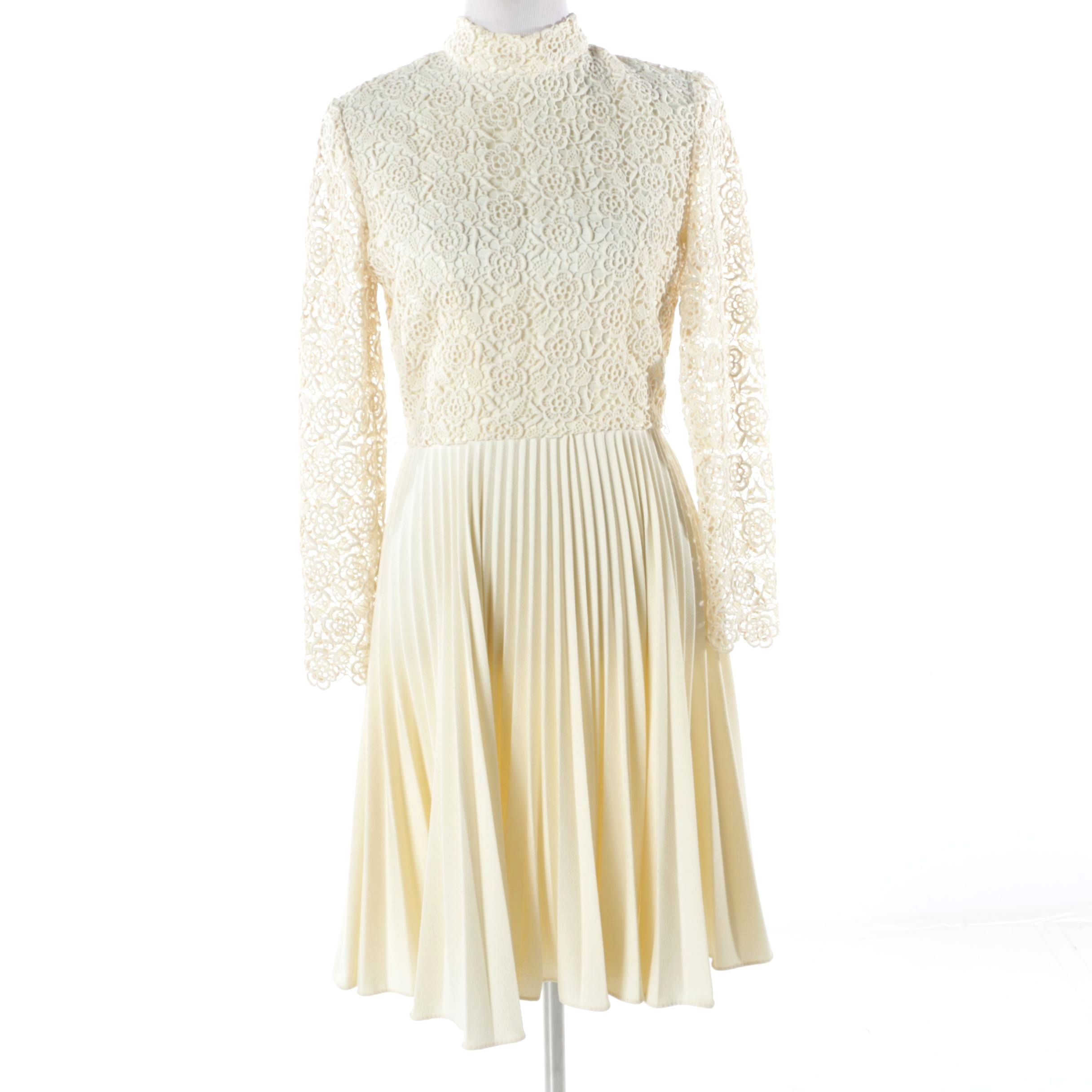 Circa 1960s Vintage Cream Crochet Lace Dress